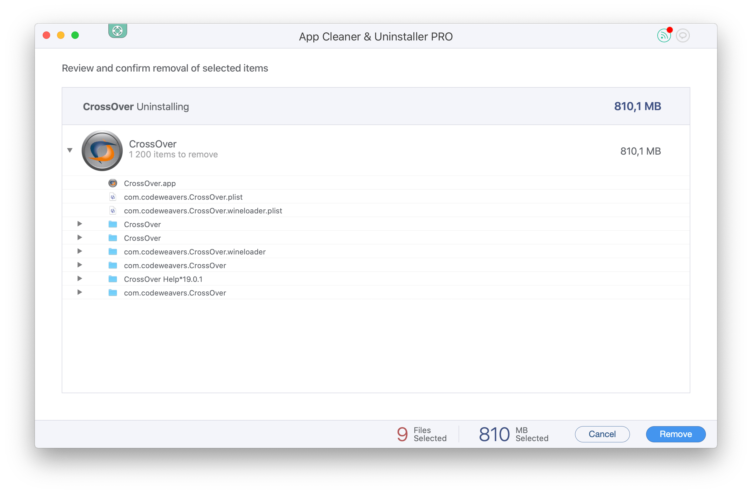 Crossover cache files in Finder