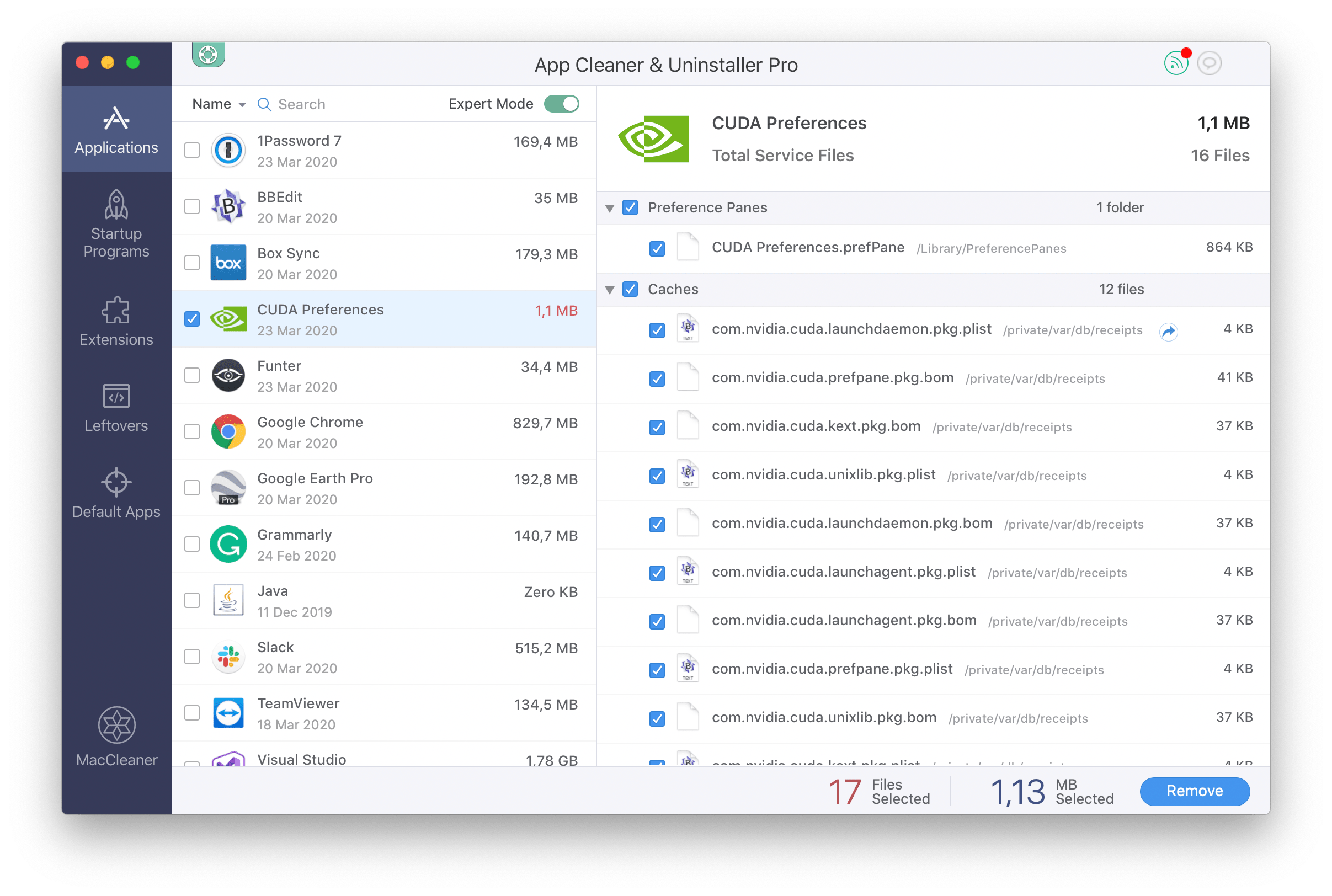 Removing CUDA Preferences with App Cleaner & Uninstaller