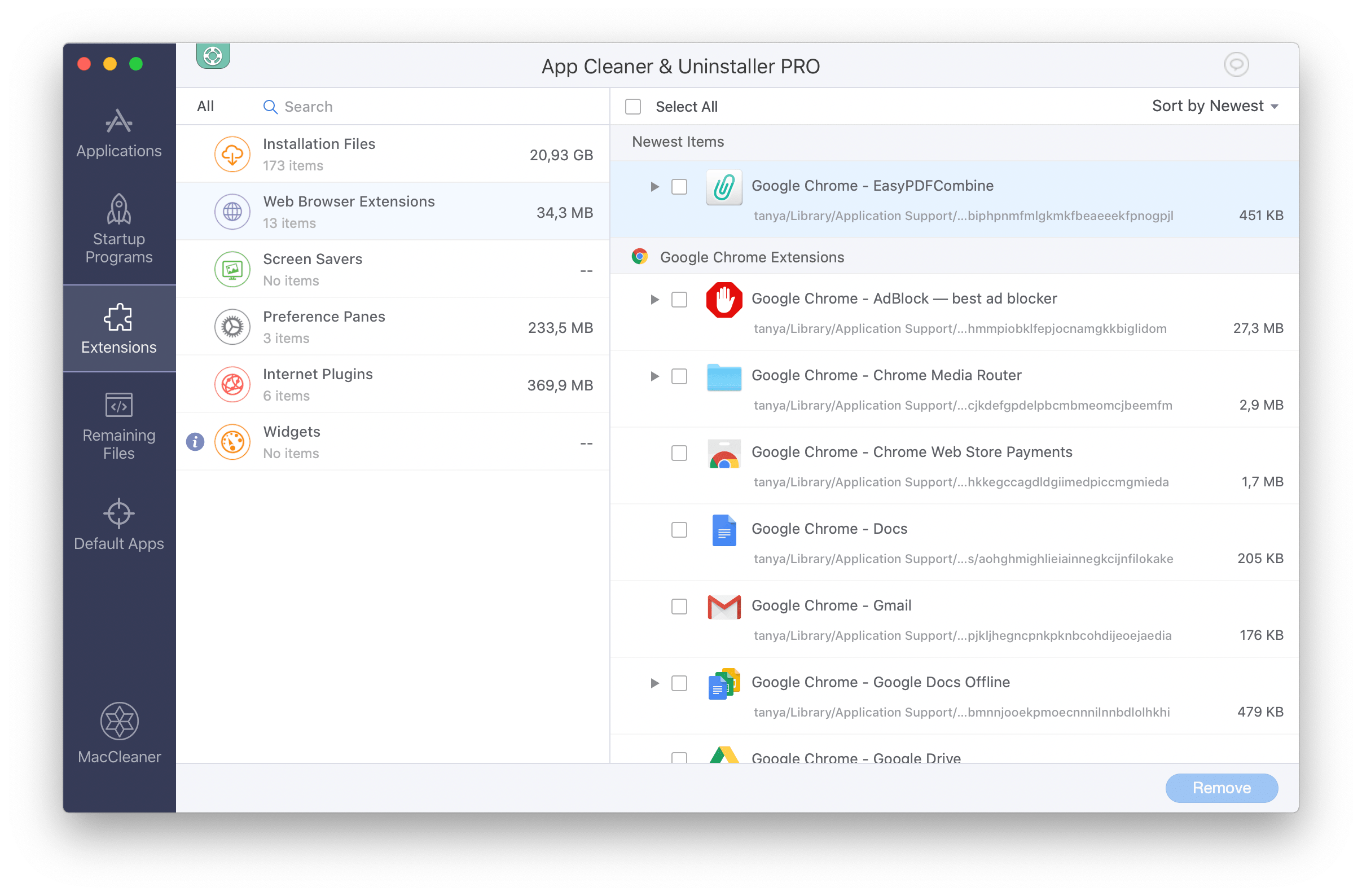 Web Browser Extensions section in App Cleaner & Uninstaller