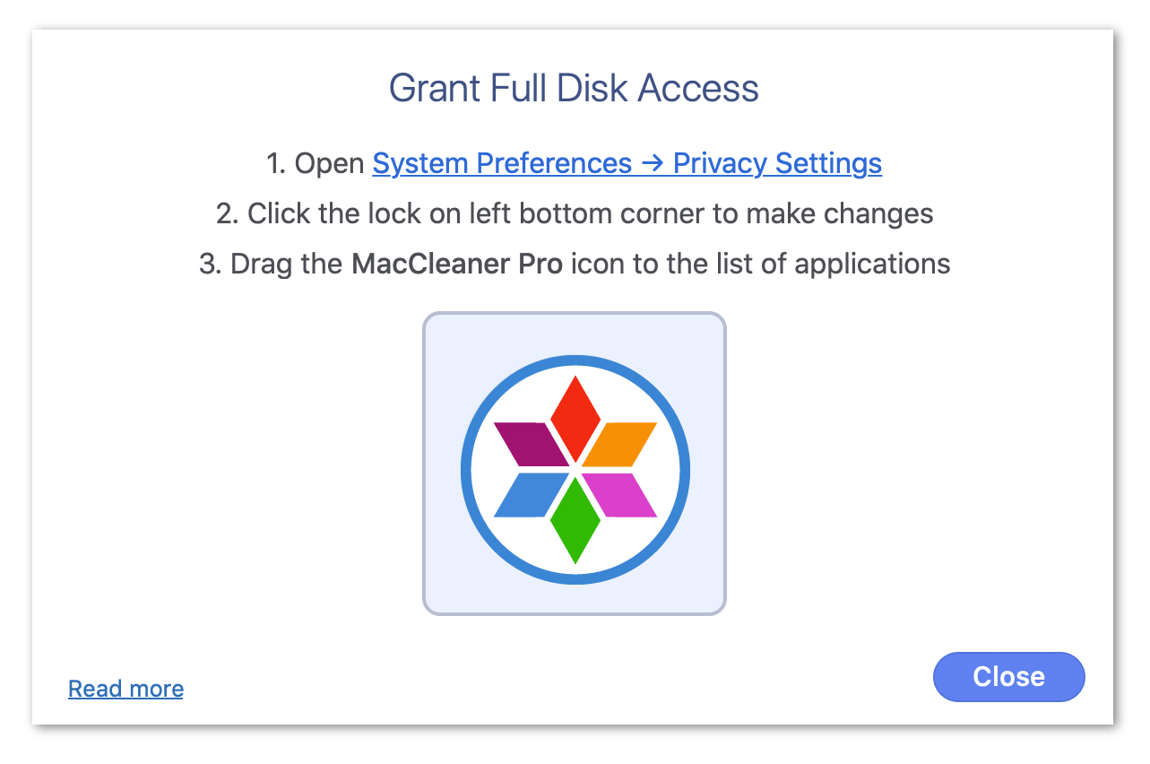 how to grant access to MacCleaner Pro