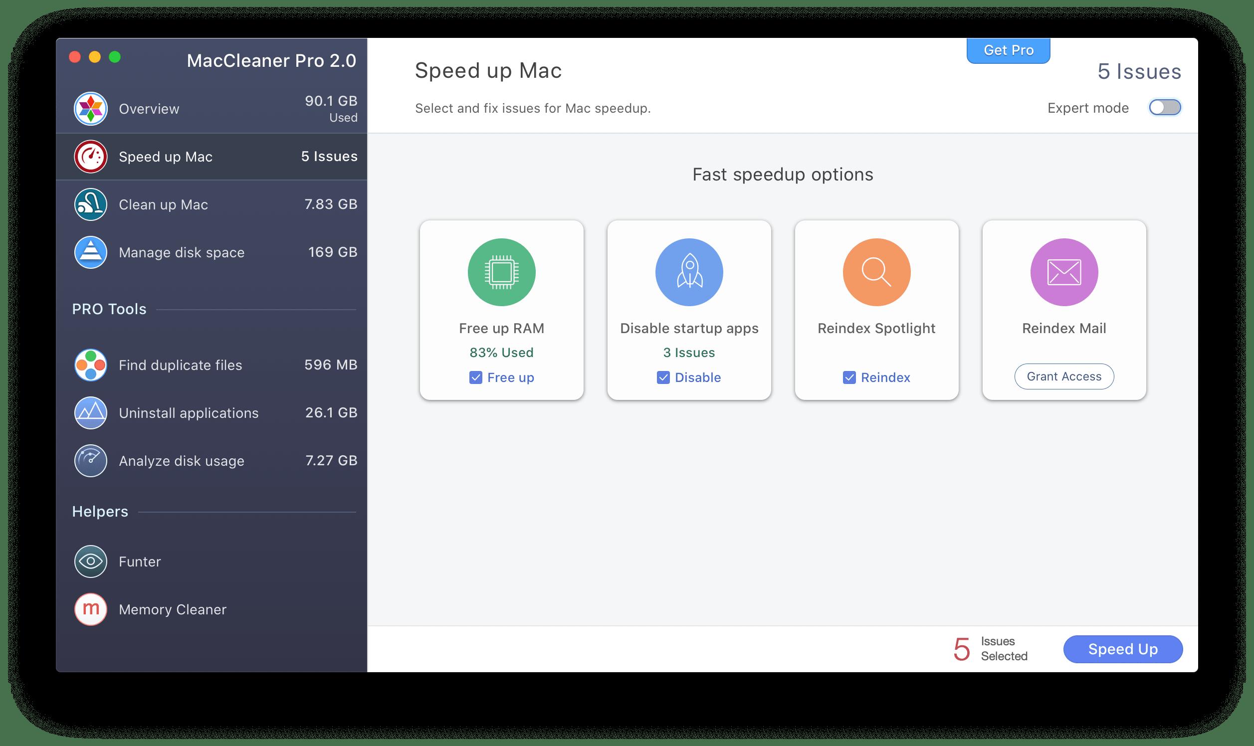 Приложение MacCleaner Pro показывающее вкладку Speed up Mac