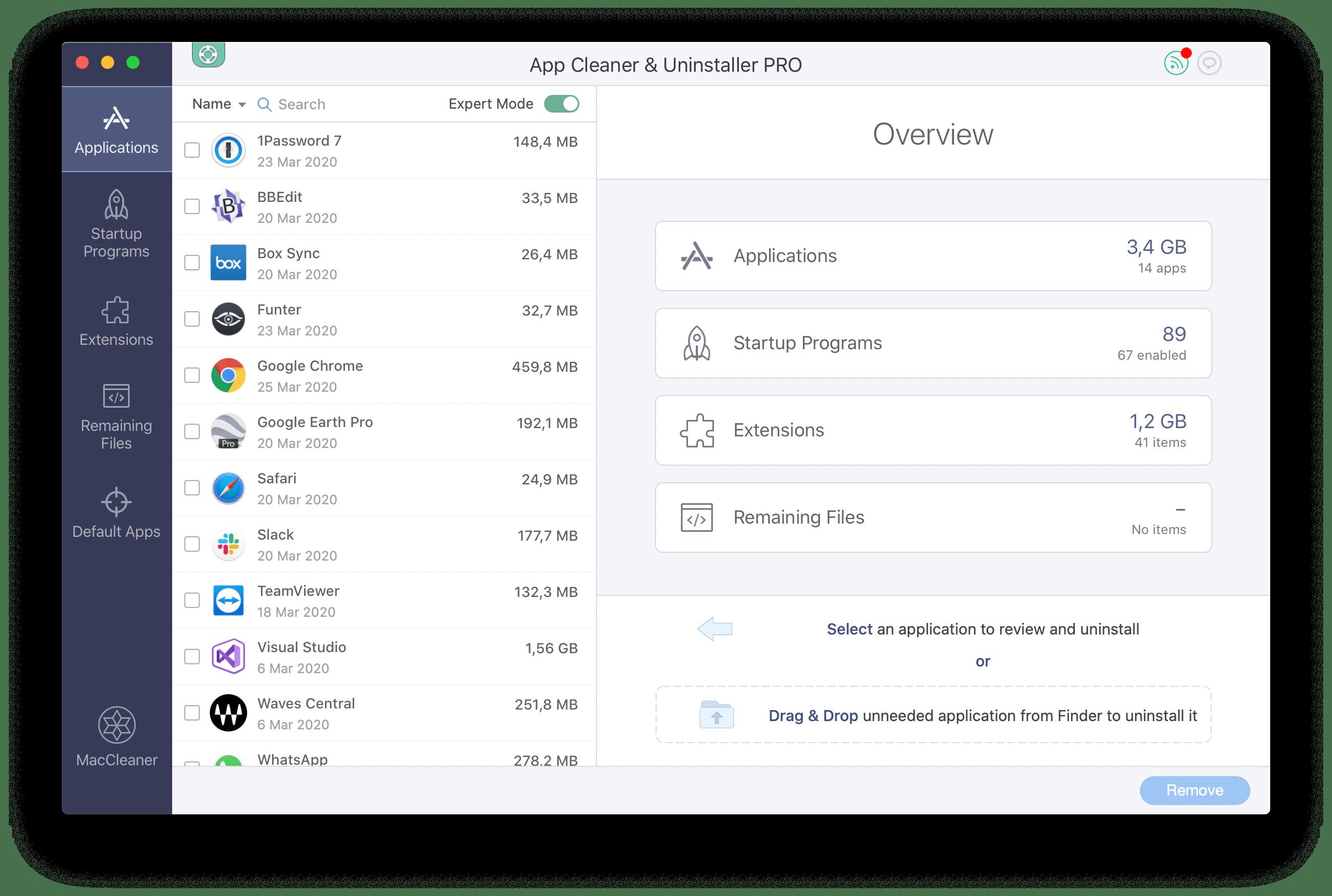 App Cleaner & Uninstaller Overview window