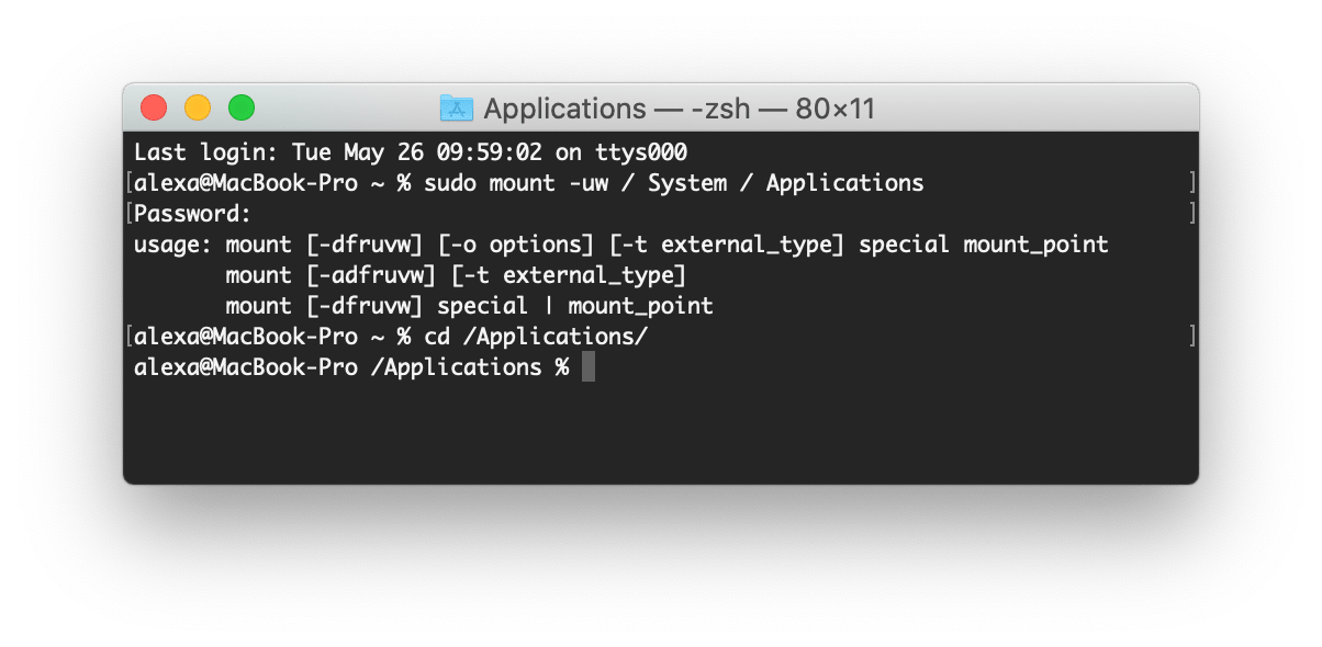 terminal with command to show app directory