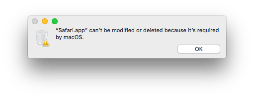 can't be modified or deleted because it's required by macos
