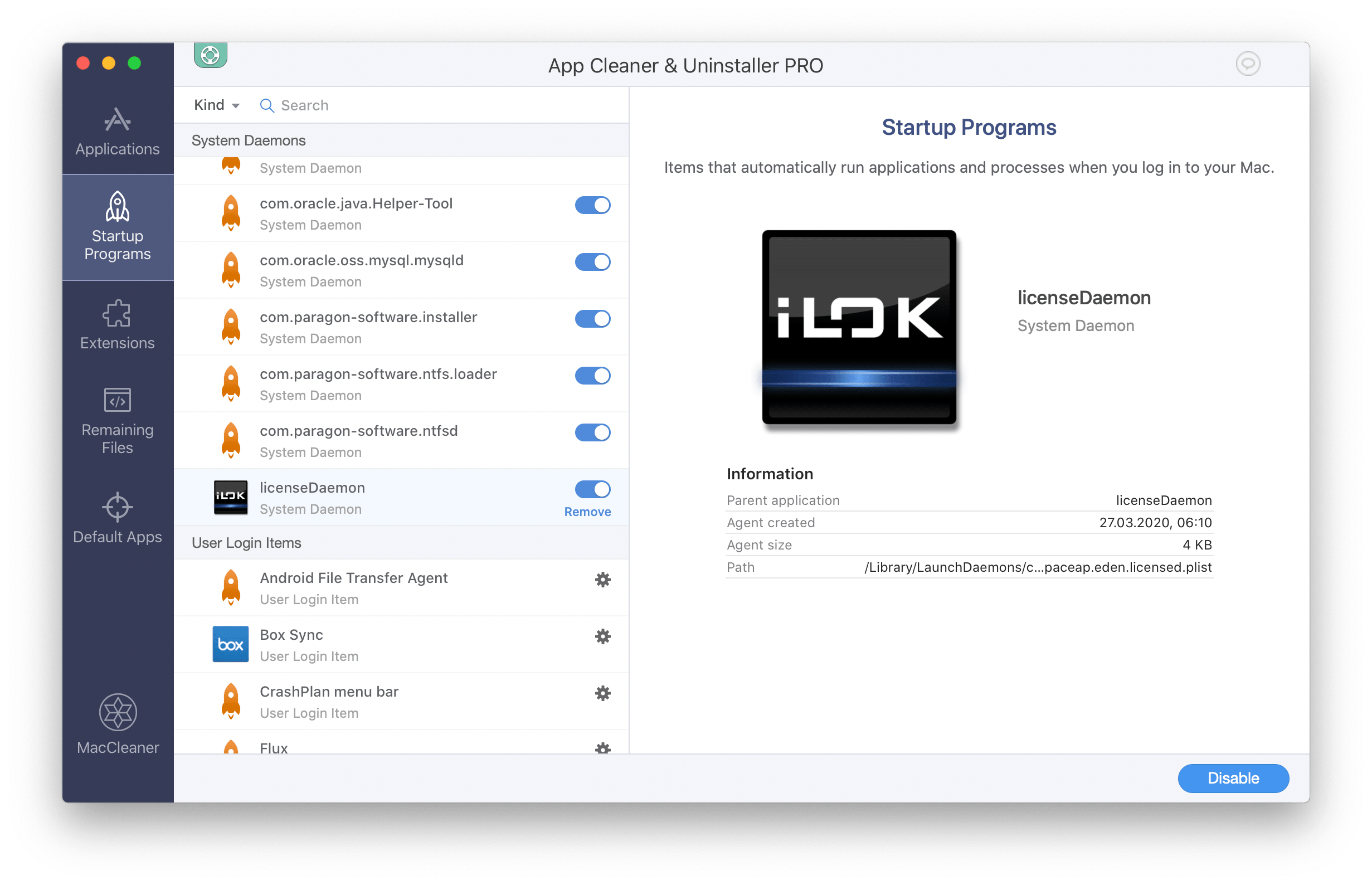 iLok startup agents on mac