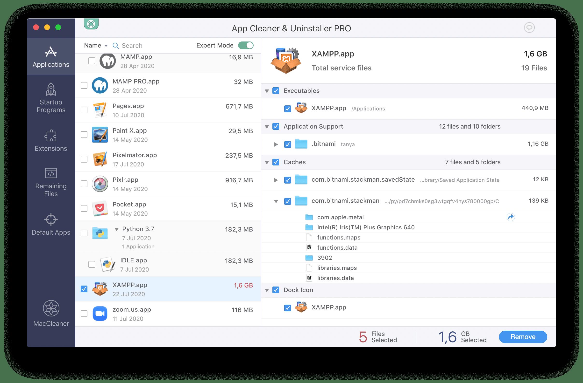 uninstalling xampp with app cleaner