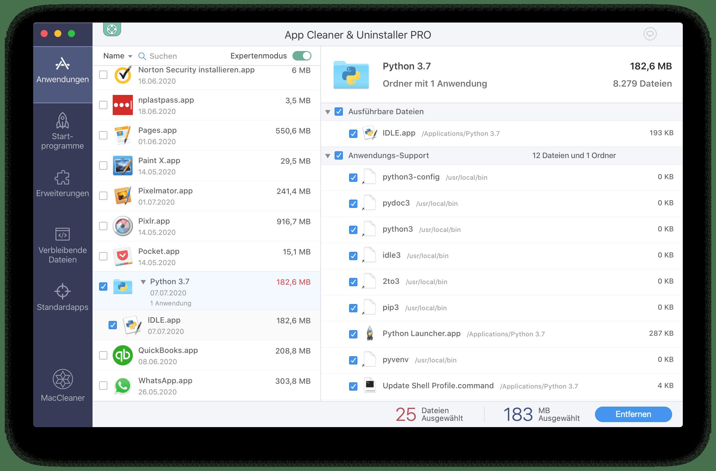 app cleaner uninstall python