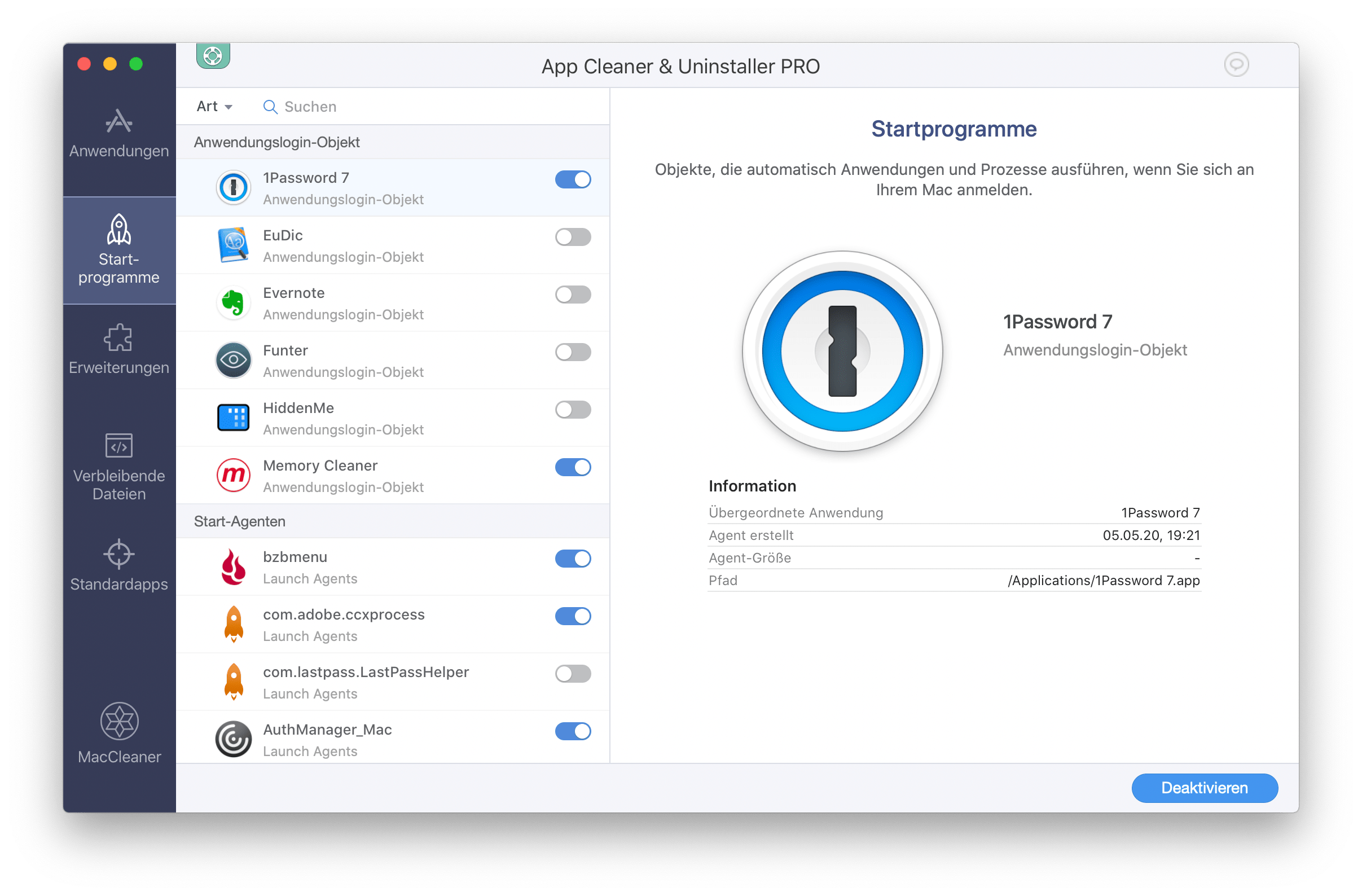 App Cleaner & Uninstaller-Fenster mit der Registerkarte Start-programme