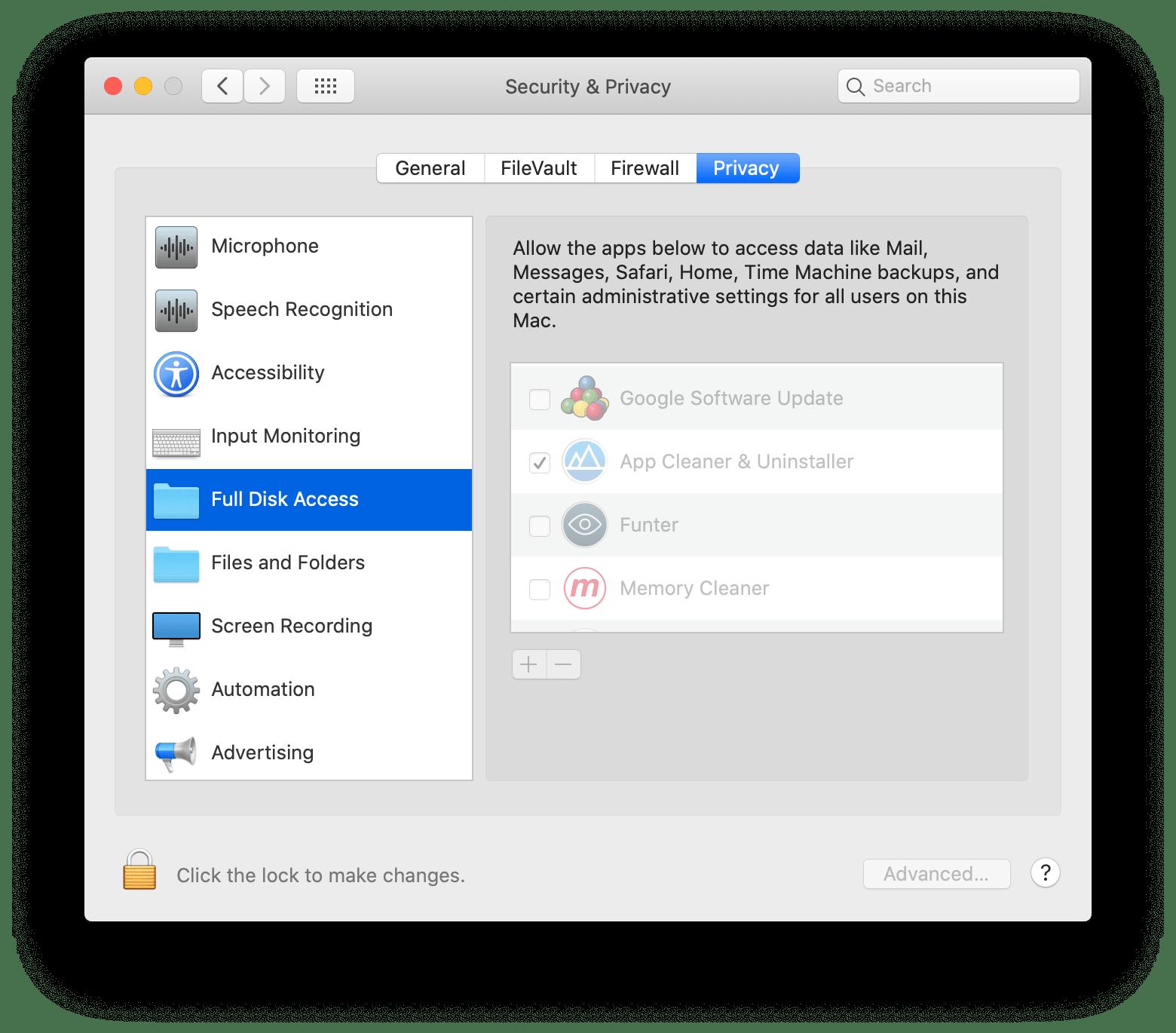 folder size finder full disk access