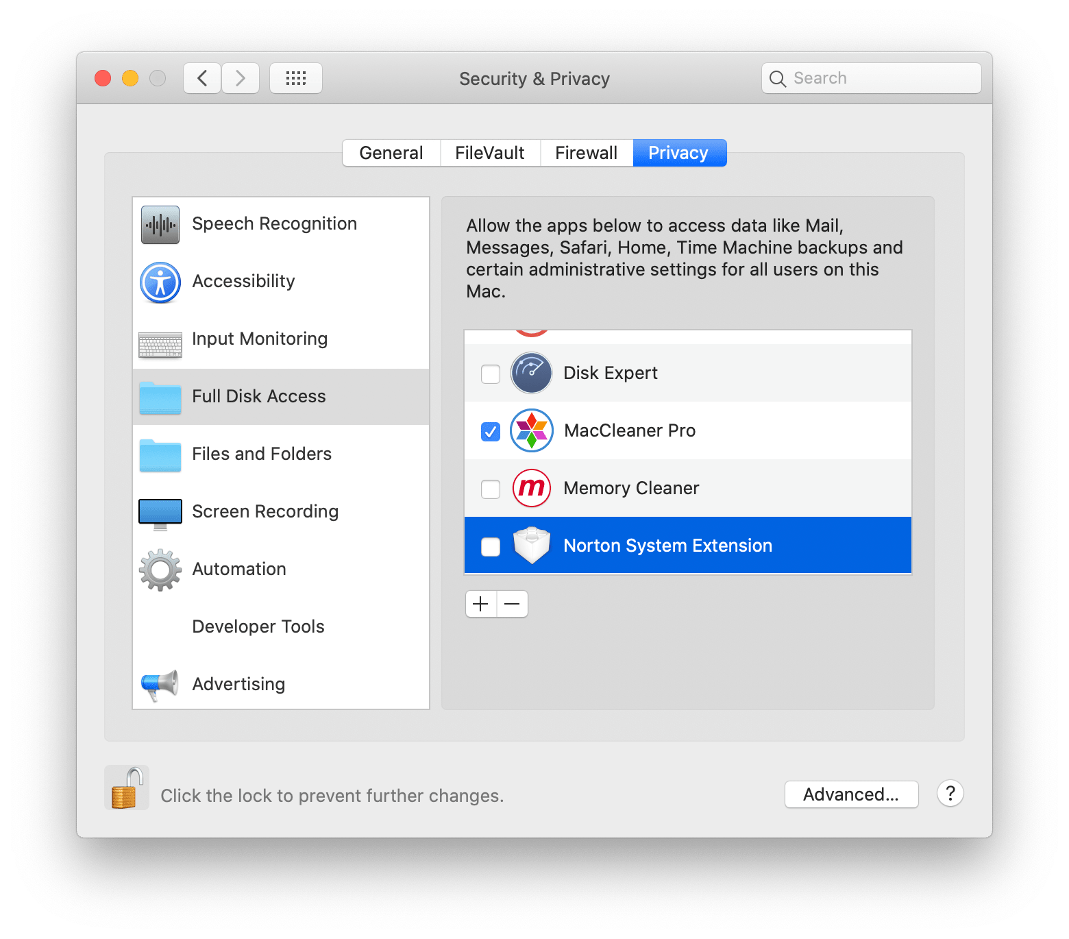 Full Disk Access MacCleaner Pro