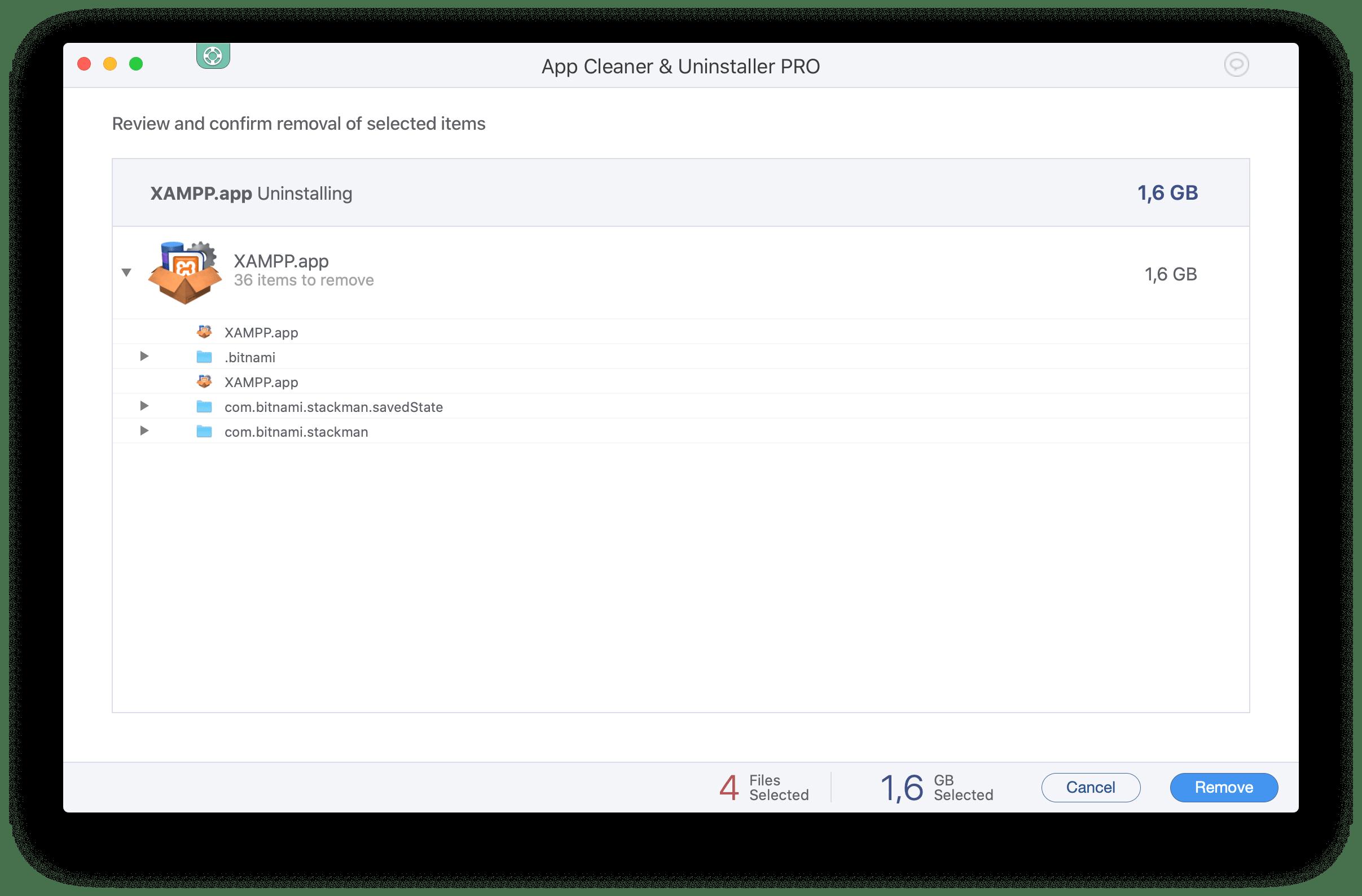 conformation window to uninstall xampp