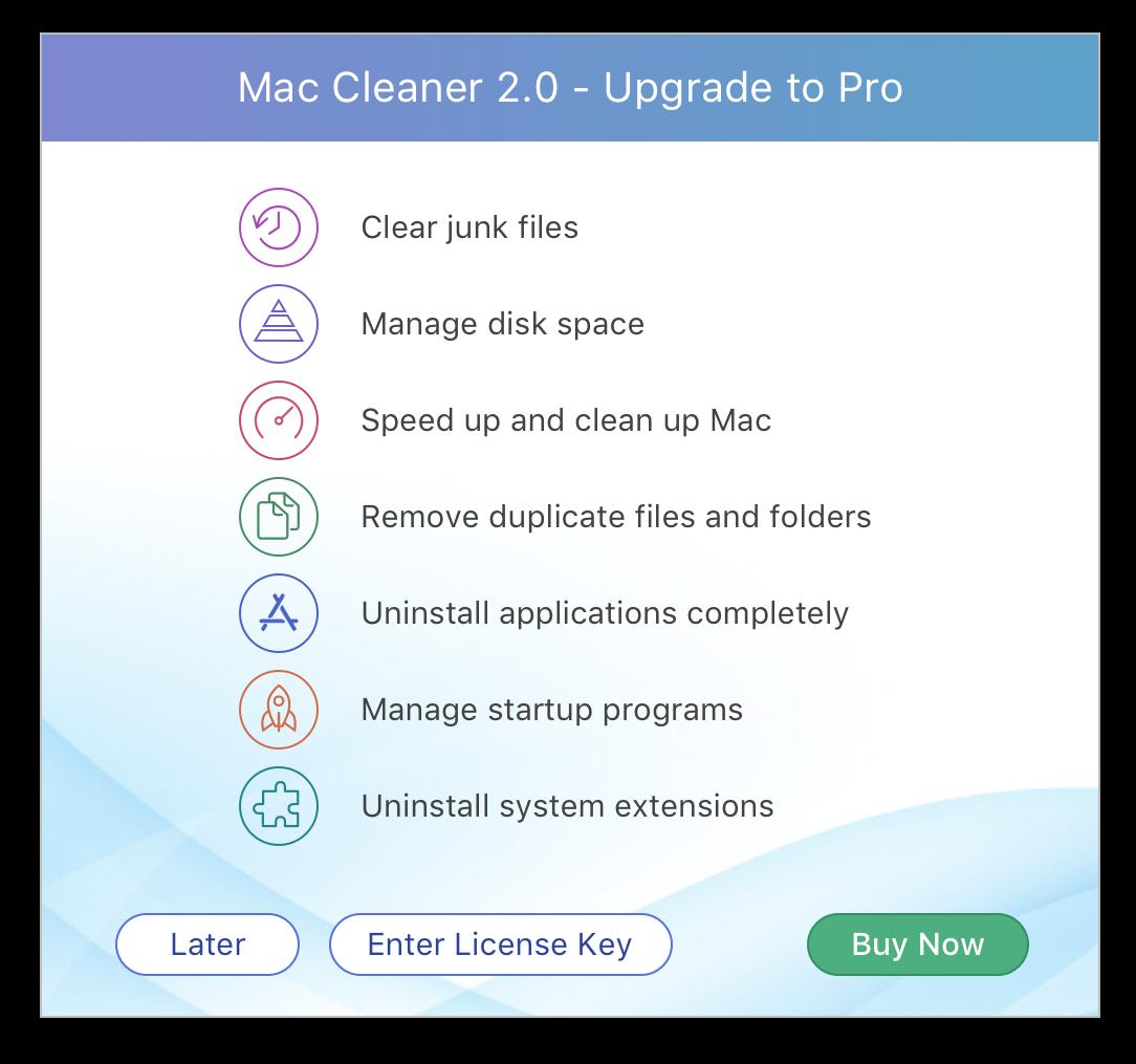 upgrade to MacCleaner Pro