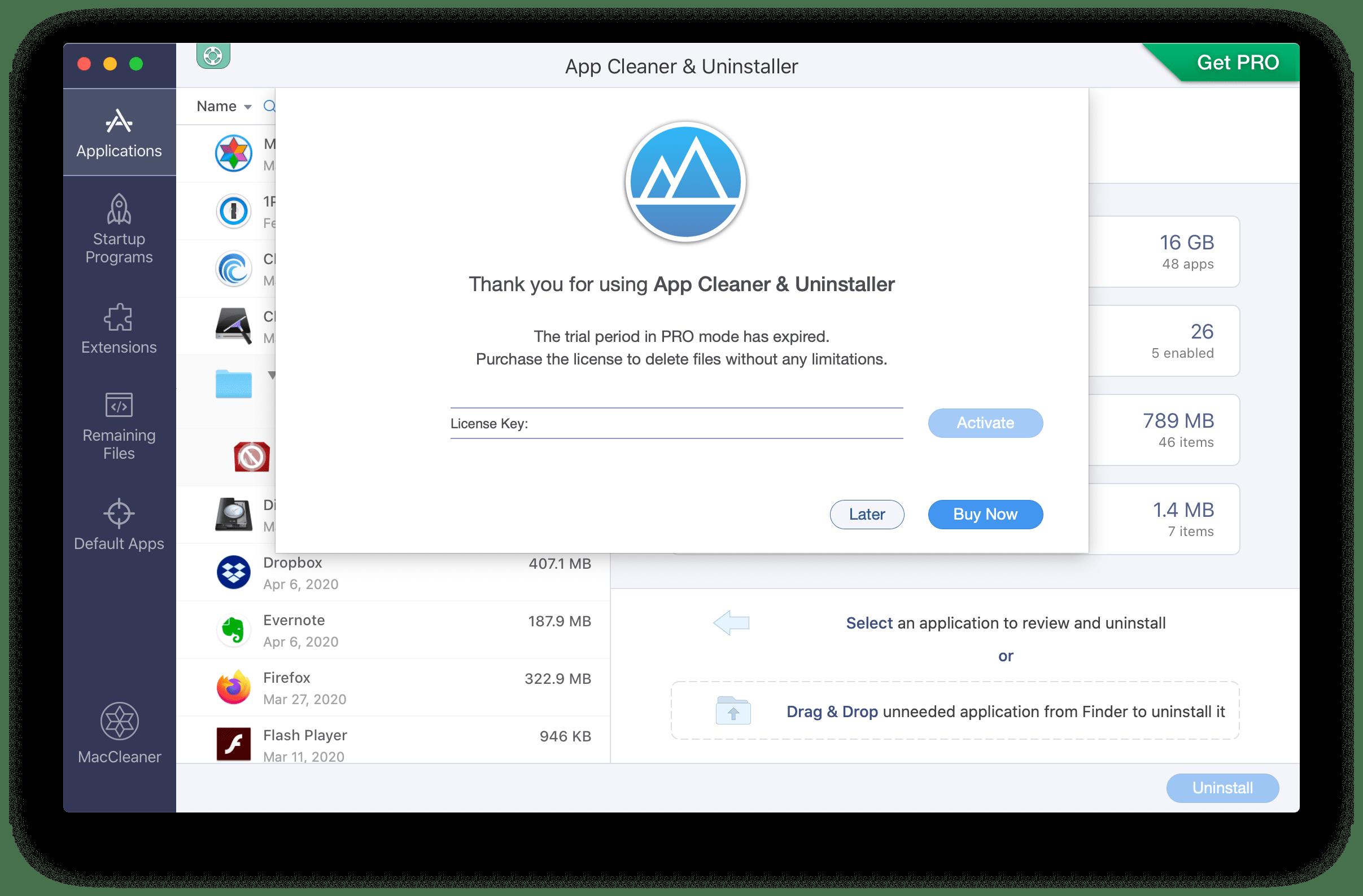 license key field in App Cleaner Uninstaller