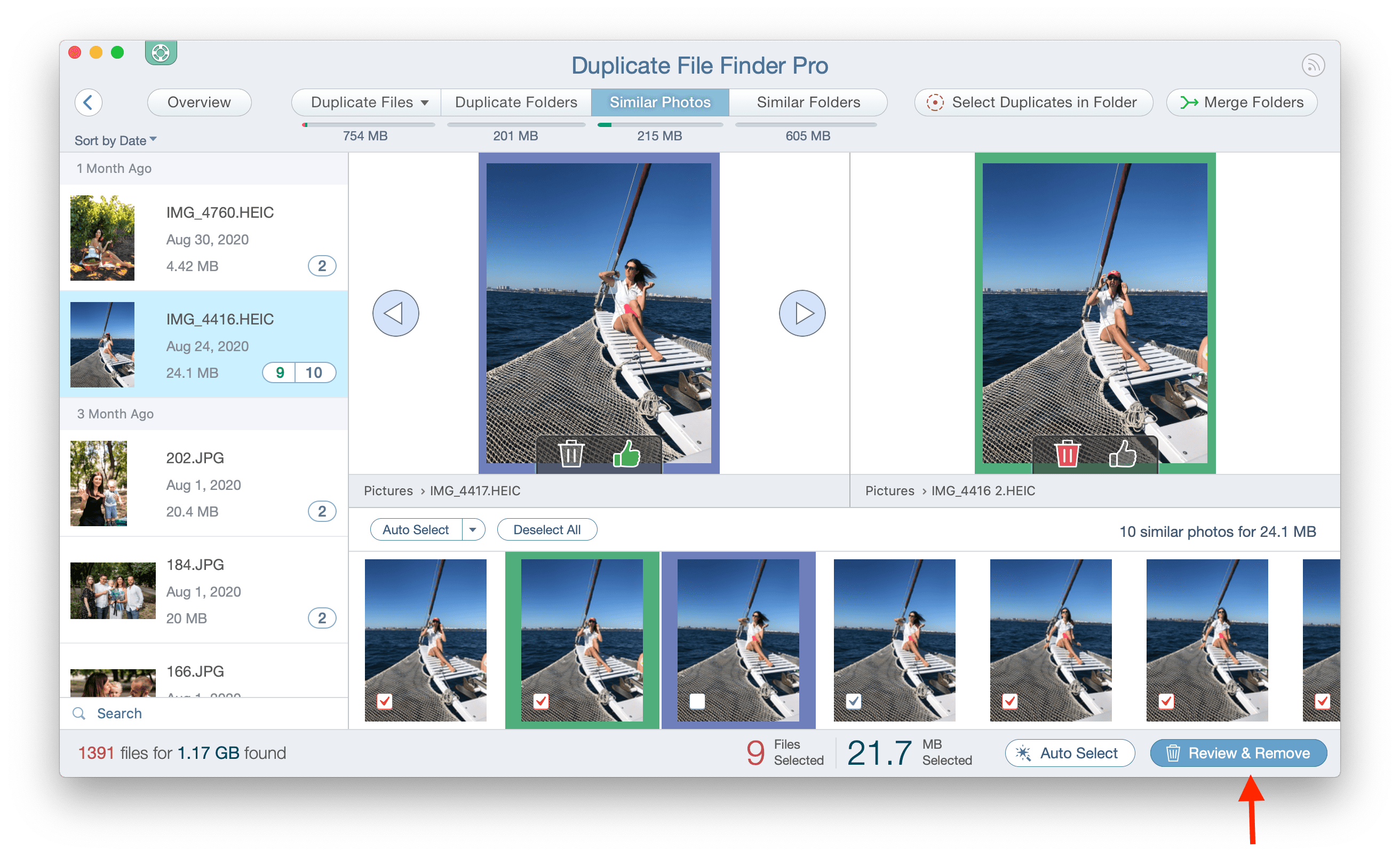 similar photos tab in duplicate file finder app