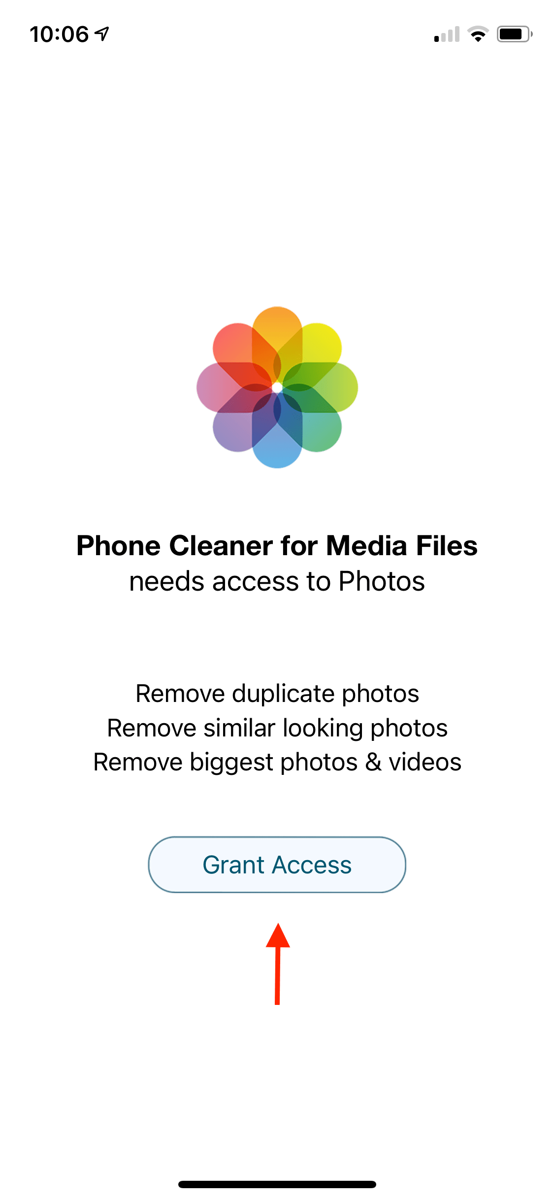 phone cleaner grant access photos