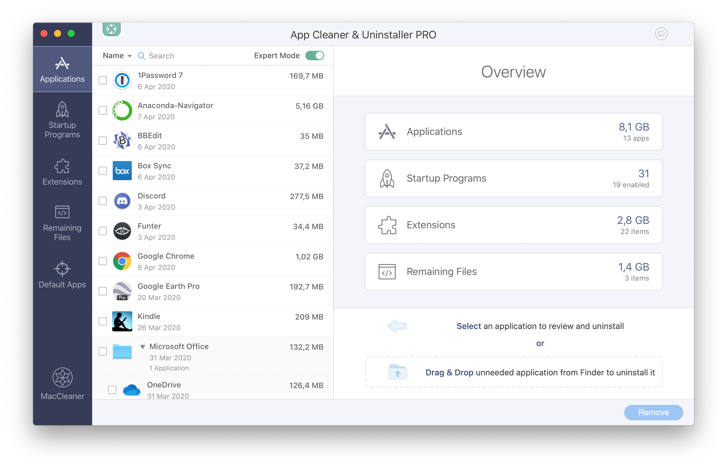 App Cleaner & Uninstaller showing Overview window