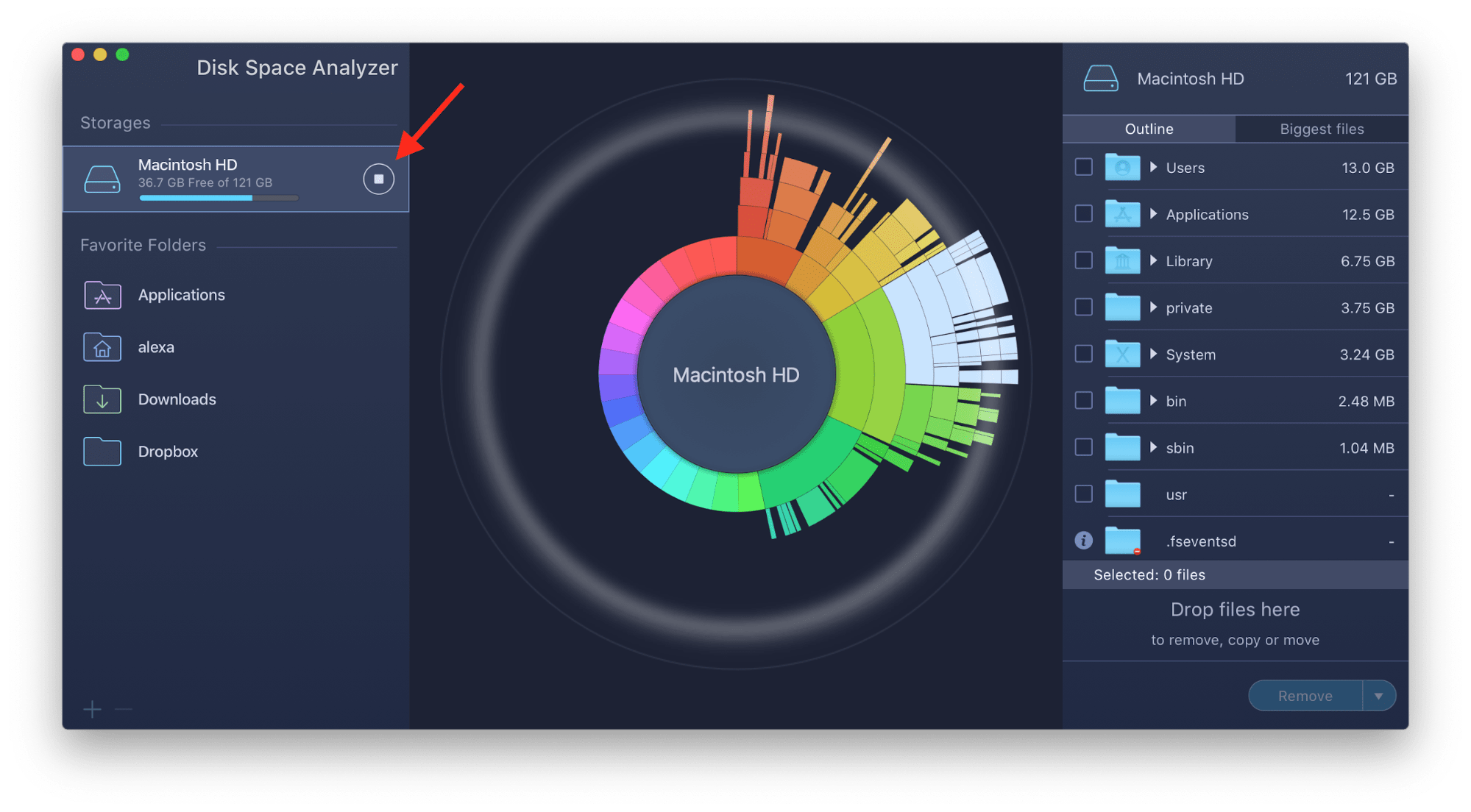 animated scan progress in disk space analyzer