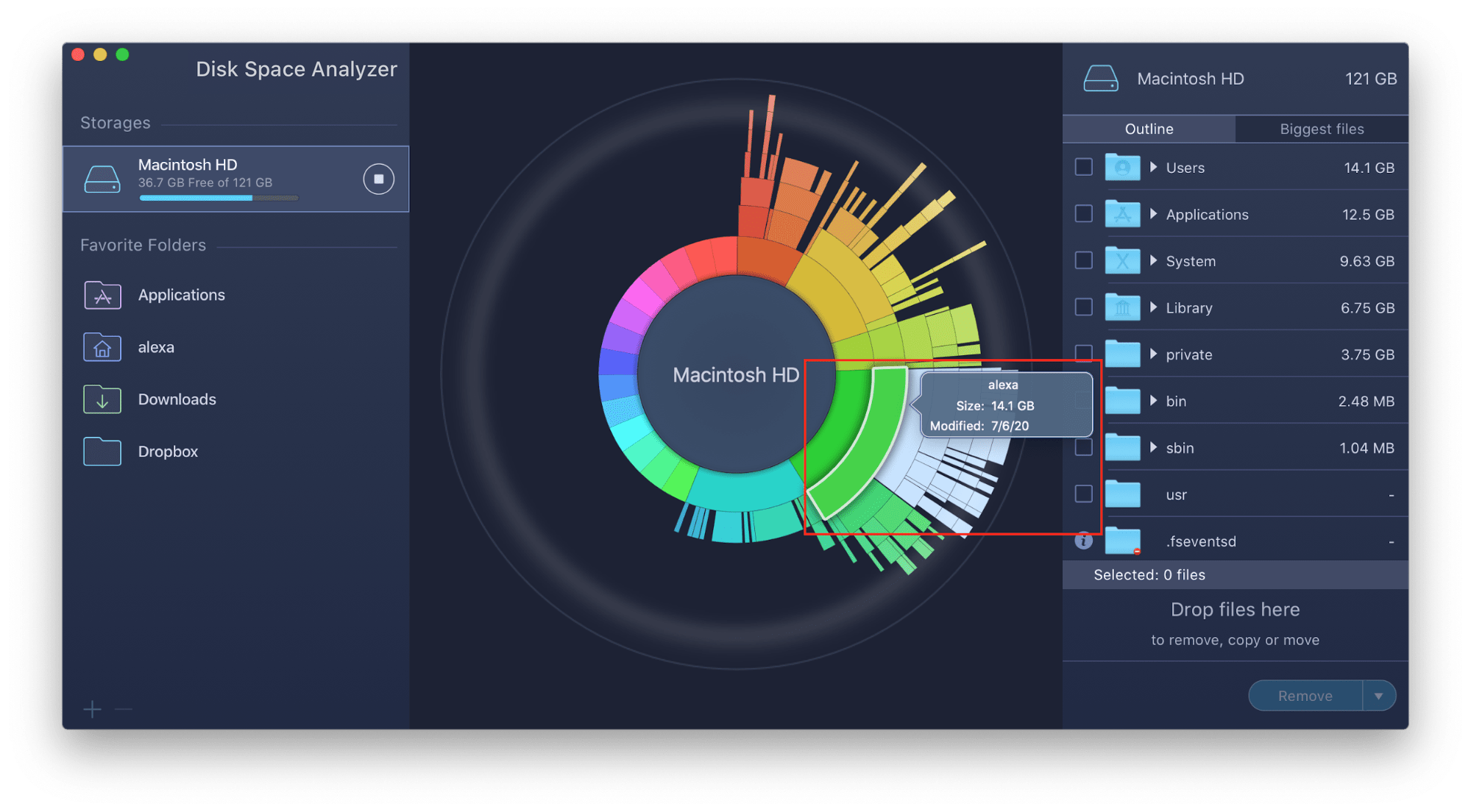 viewing item info in disk space analyzer diagram