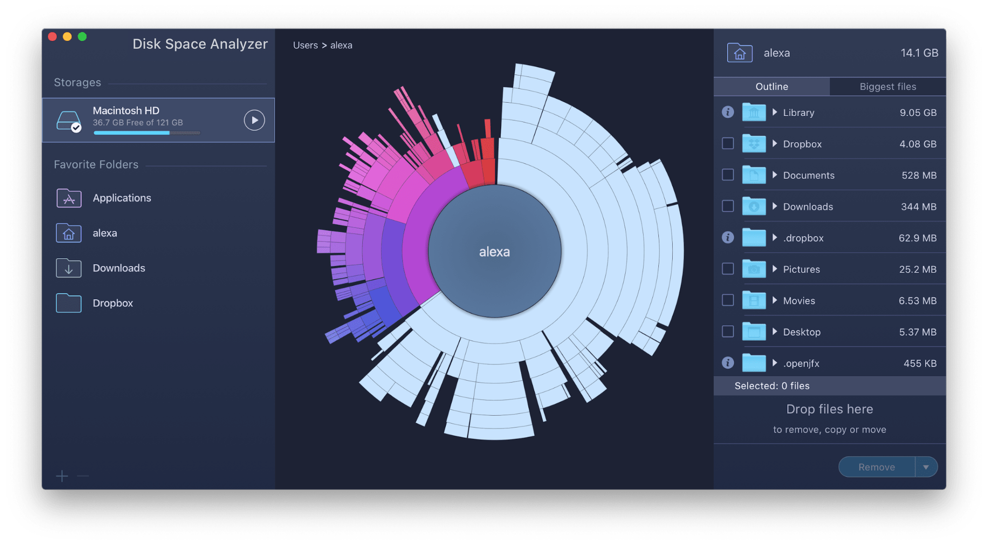 exploring folders in detail with disk space analyzer