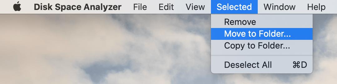 using menu bar to move folder using disk space analyzer