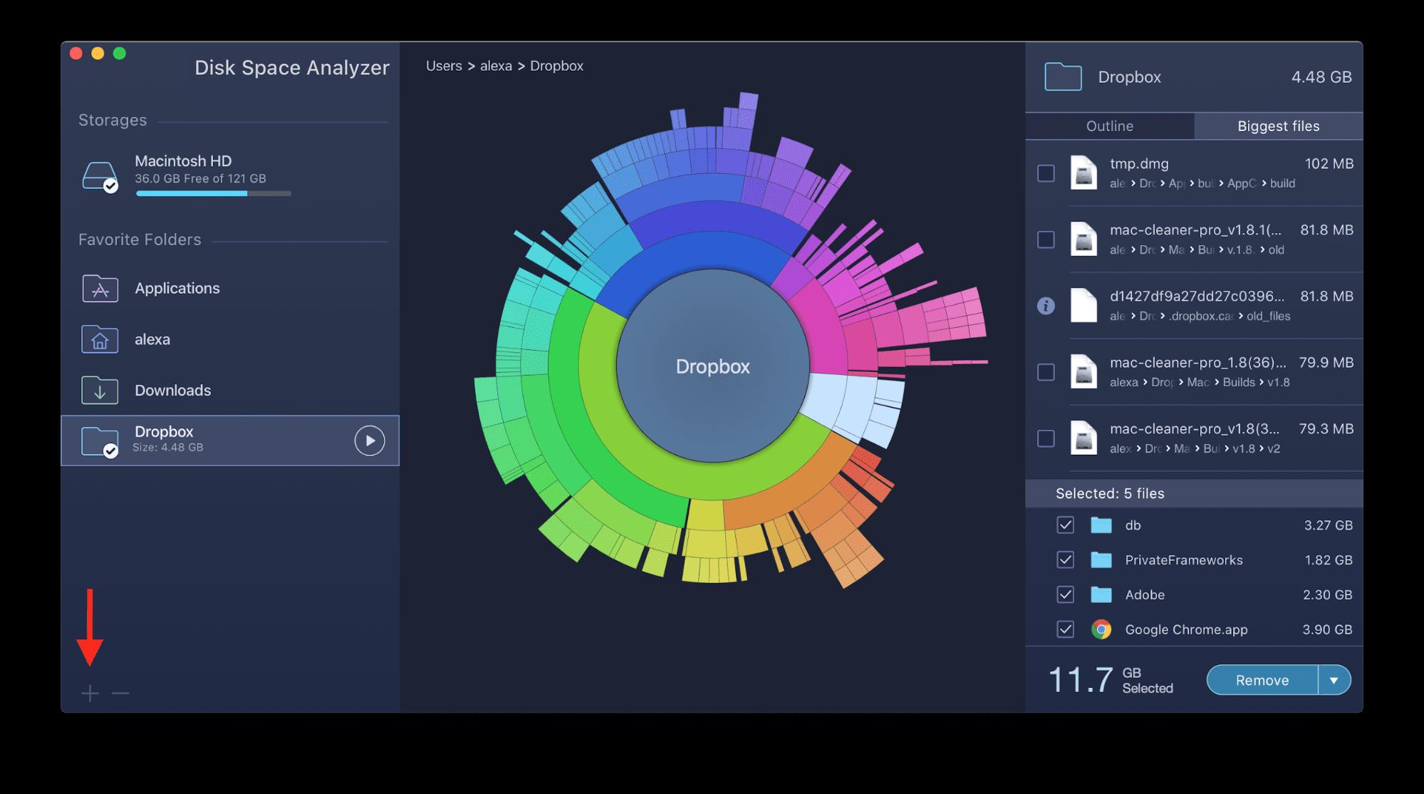 adding folder to analyze disk usage