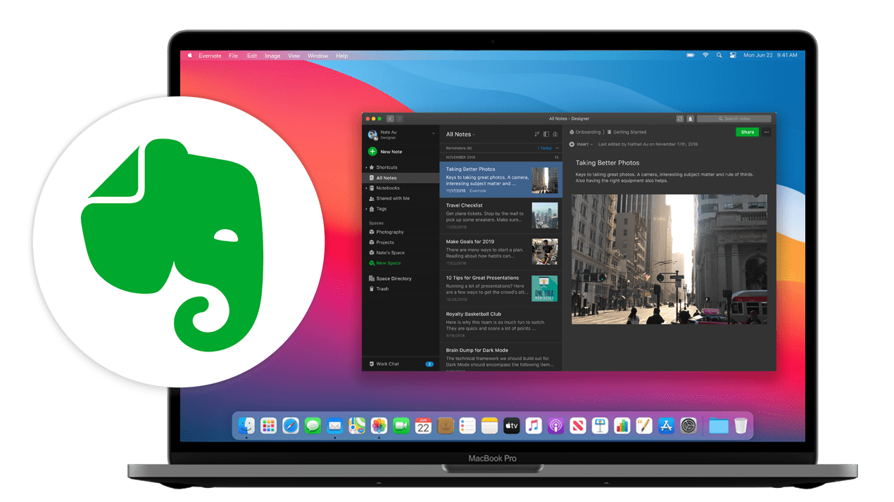 MacBook Pro image with opened Evernote window