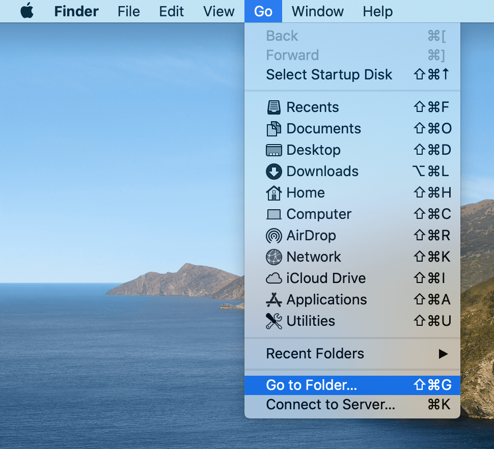 finder menu showing Go to Folder option