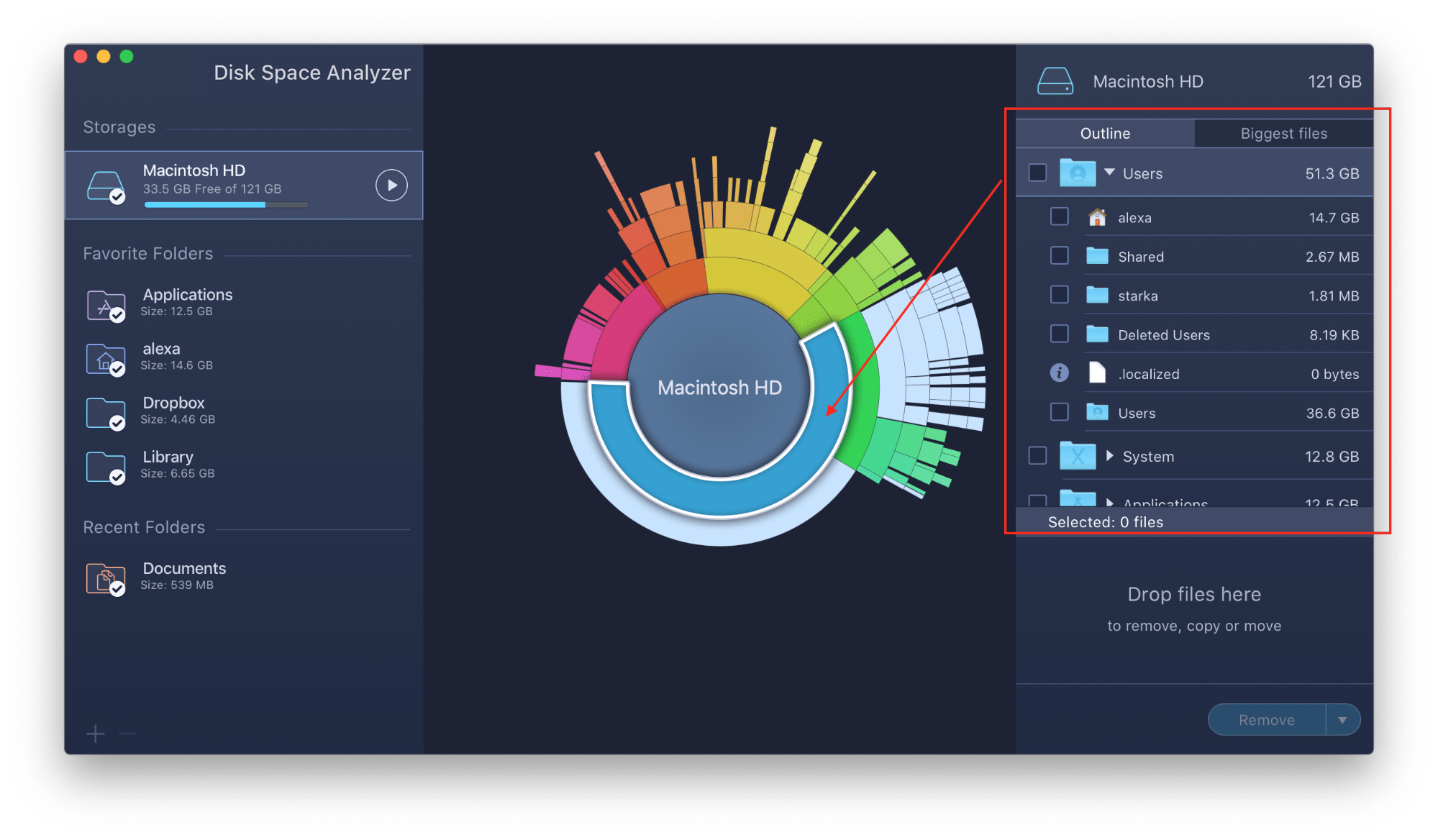 Disk Space Analyzer with folder and outline highlighted