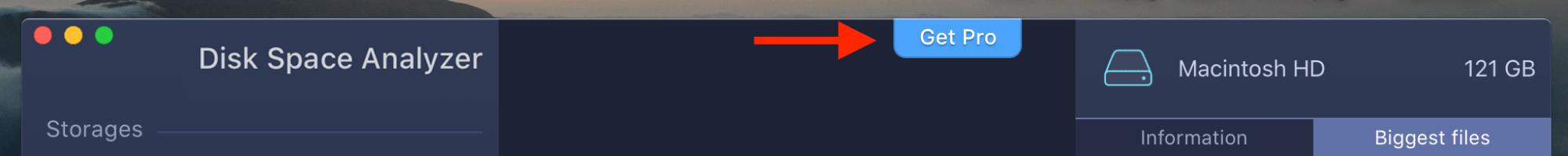 getting pro button in Disk Space Analyzer window