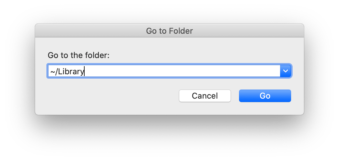 Go to Folder search field with Library location