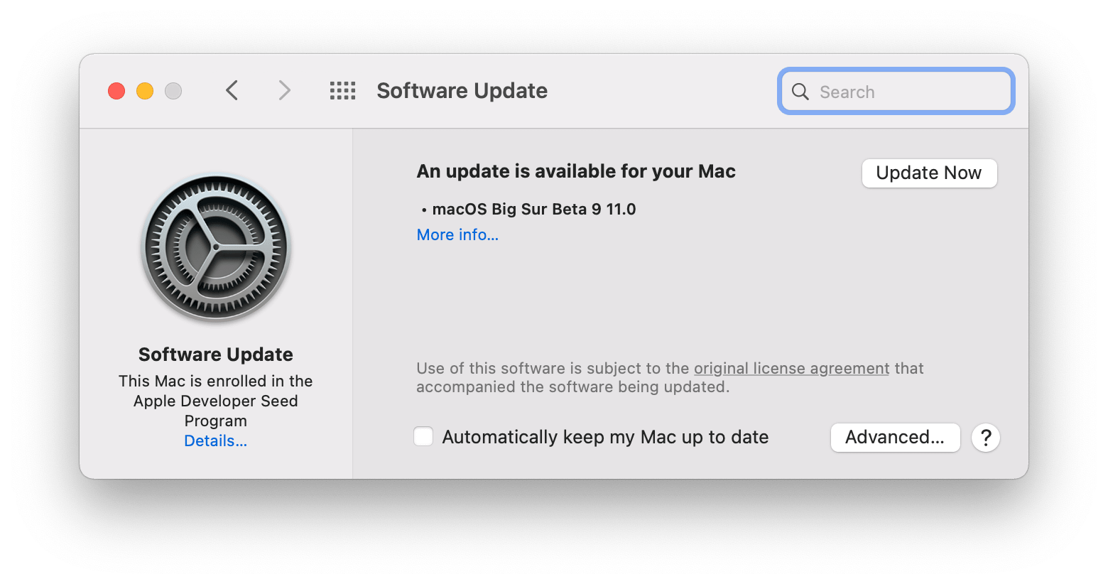 macOS Big sur software update window