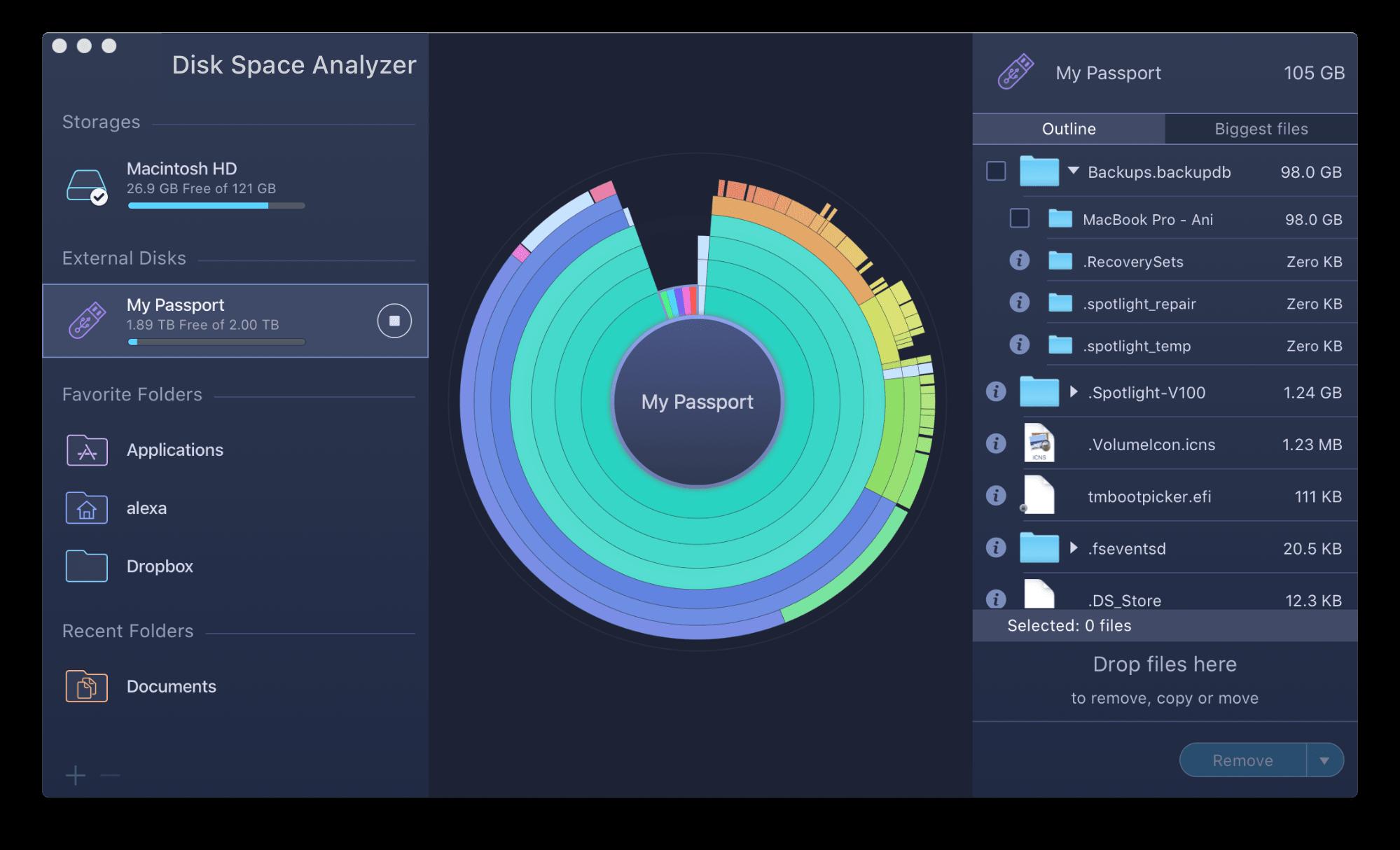 disk space analyzer window showing external storage usage