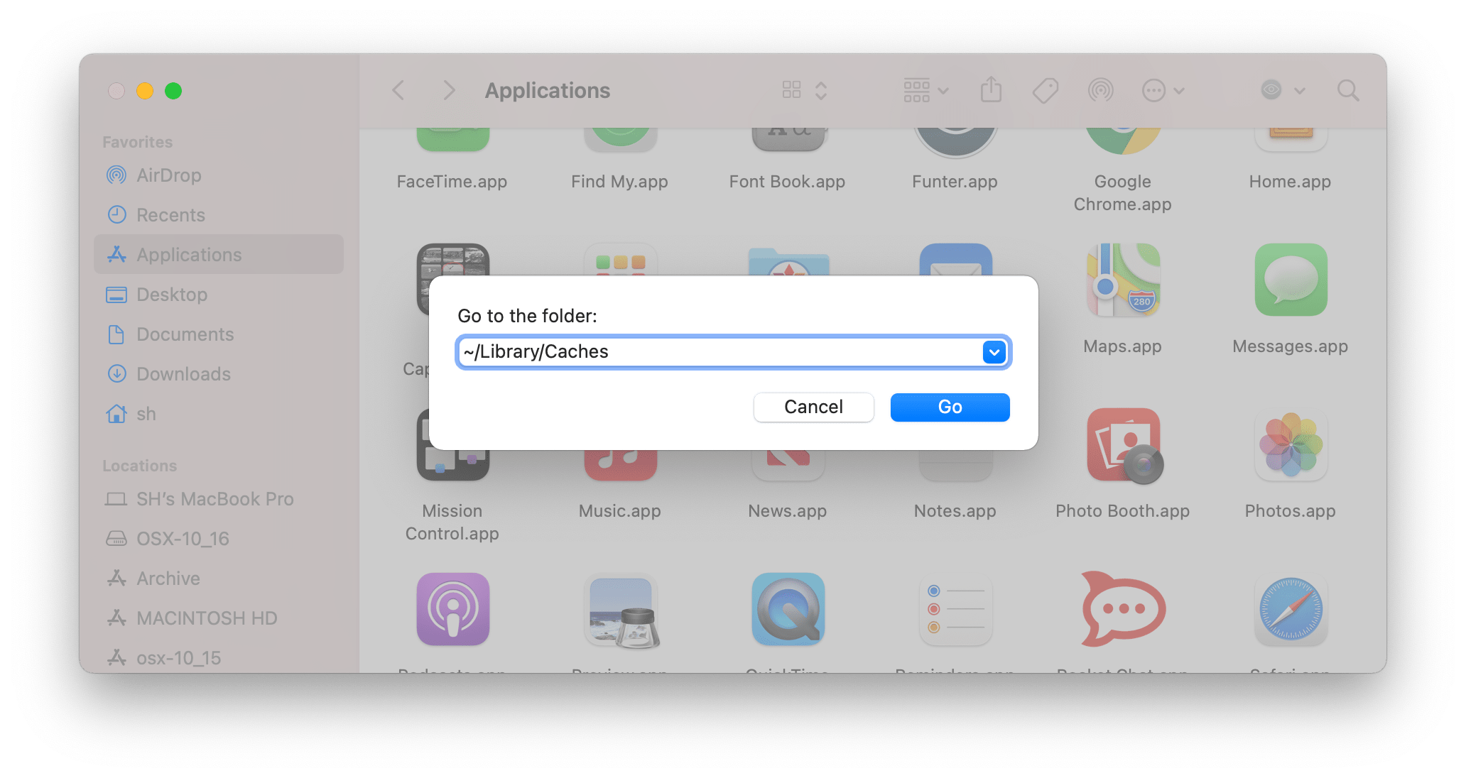 Go to the folder search field in Finder