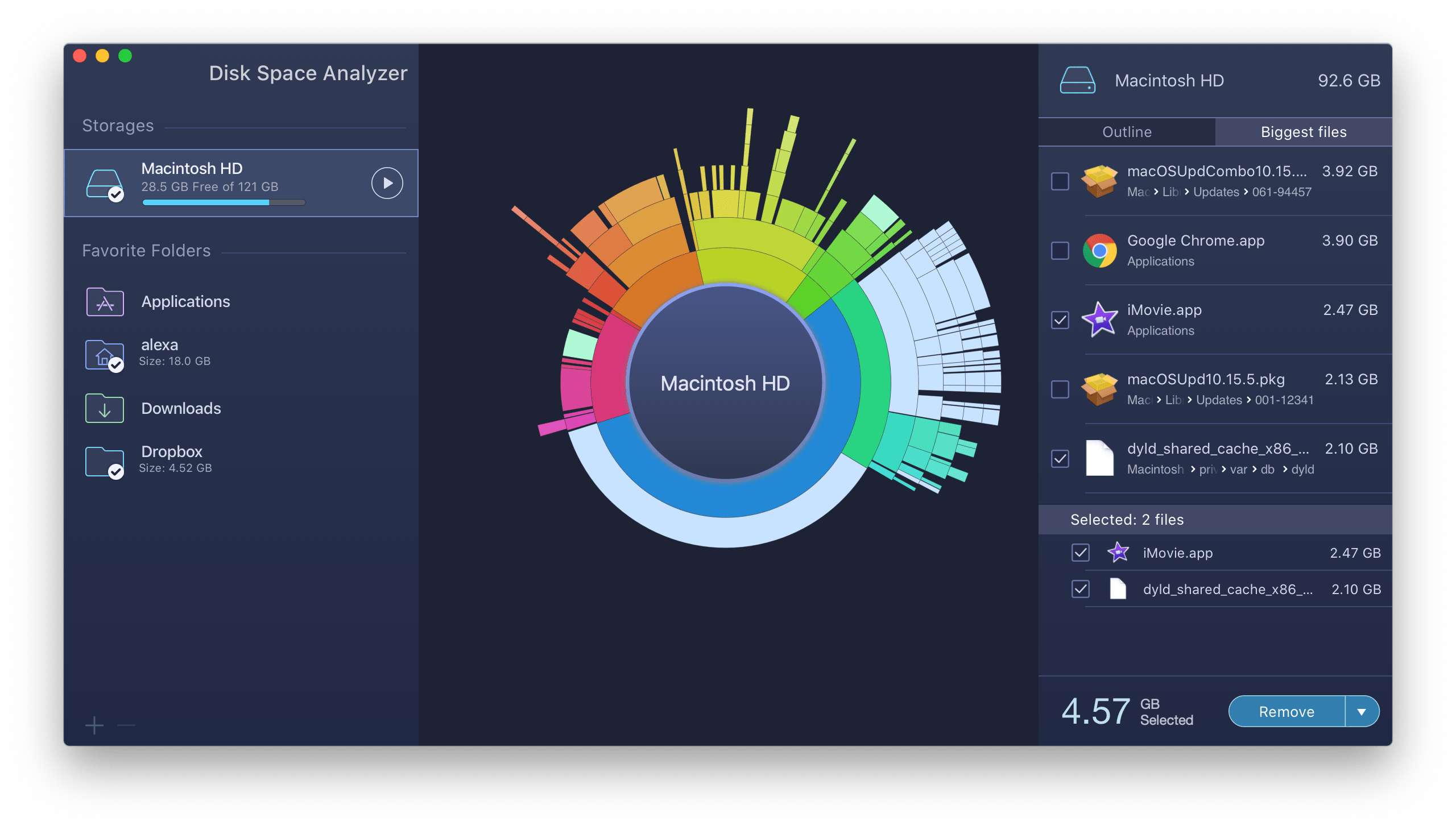 disk space analyzer showing scanned mac hd