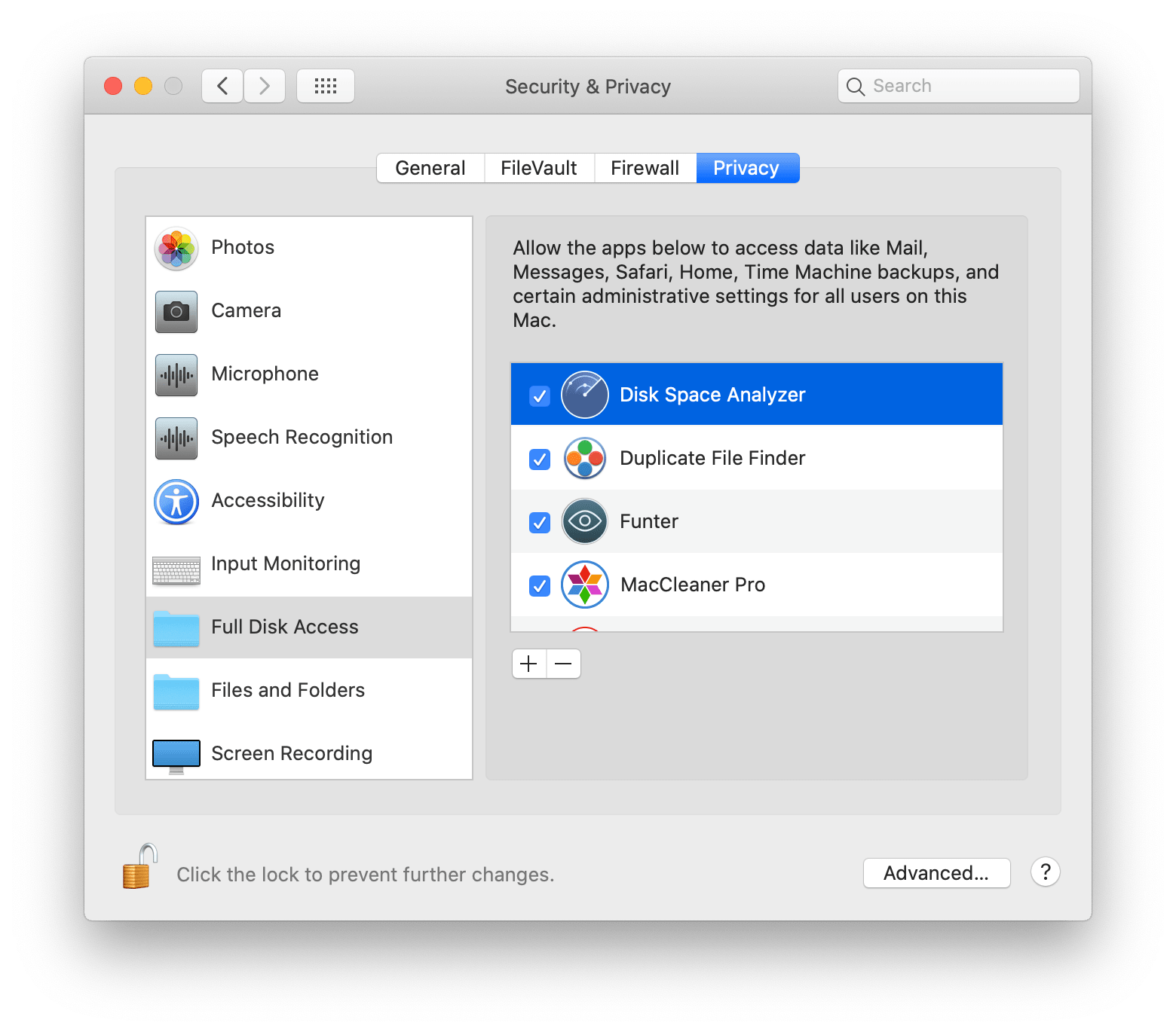 system preferences full disk access for disk space analyzer