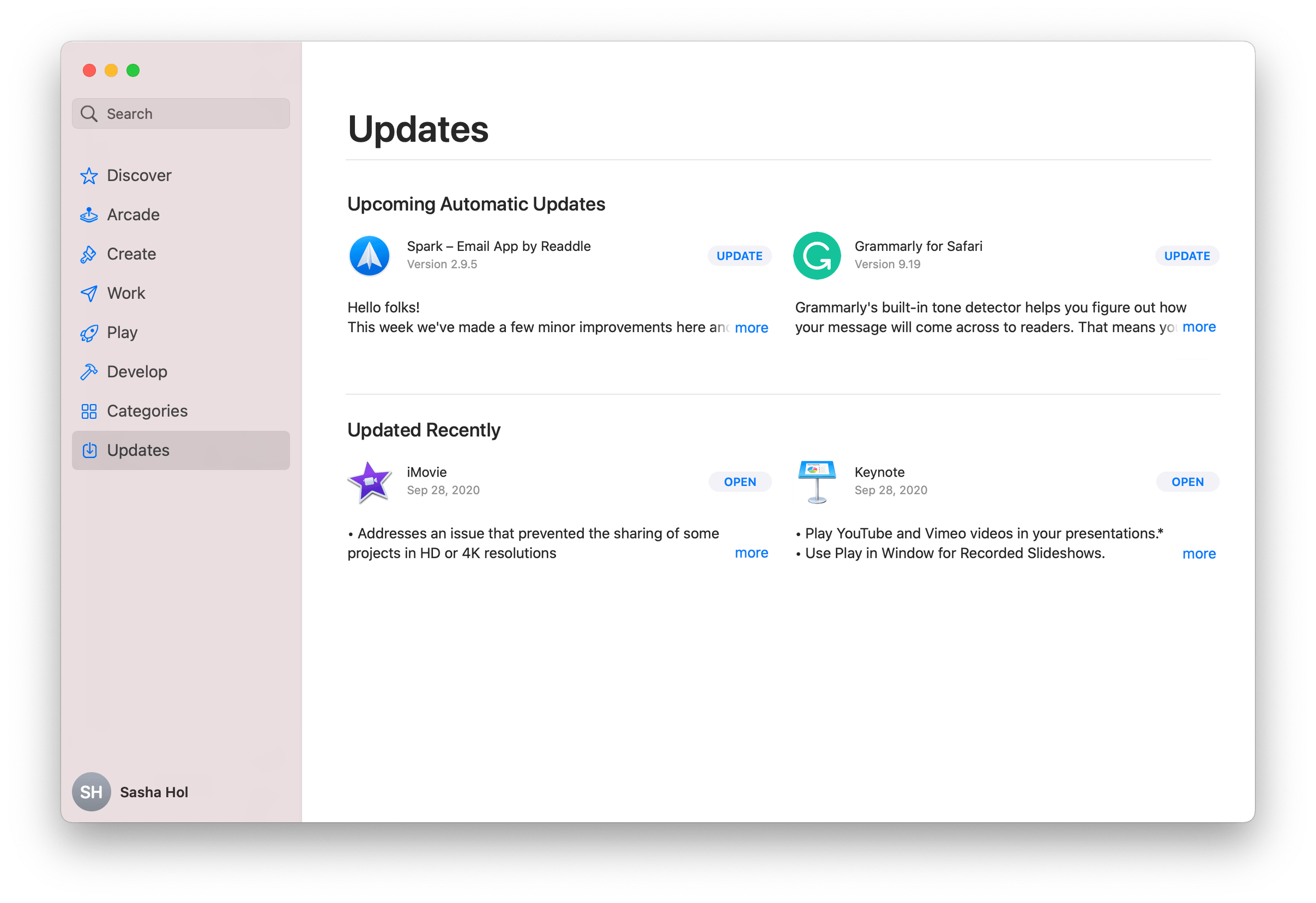 App Store window showing Updates section for apps