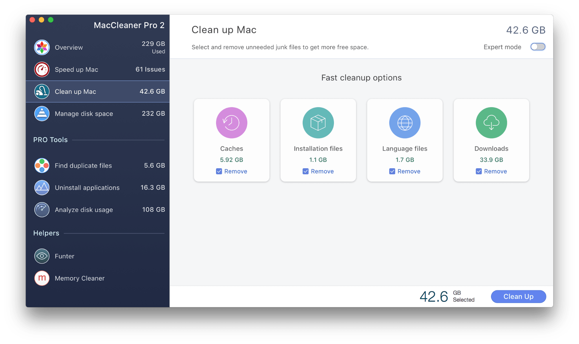 Clean up Mac tab in MacCleaner Pro window