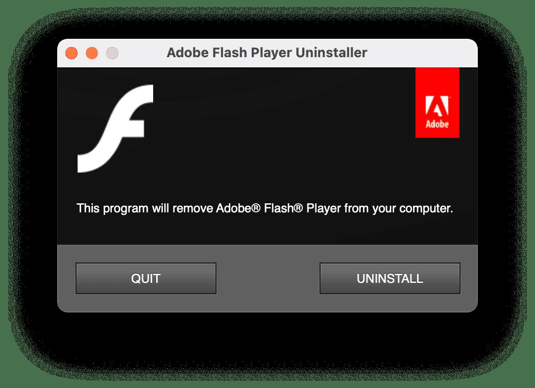 Flash Player Uninstaller window