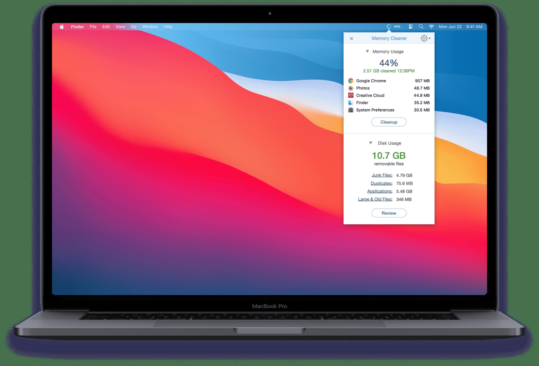 MacBook desktop showing the Memory Cleaner app