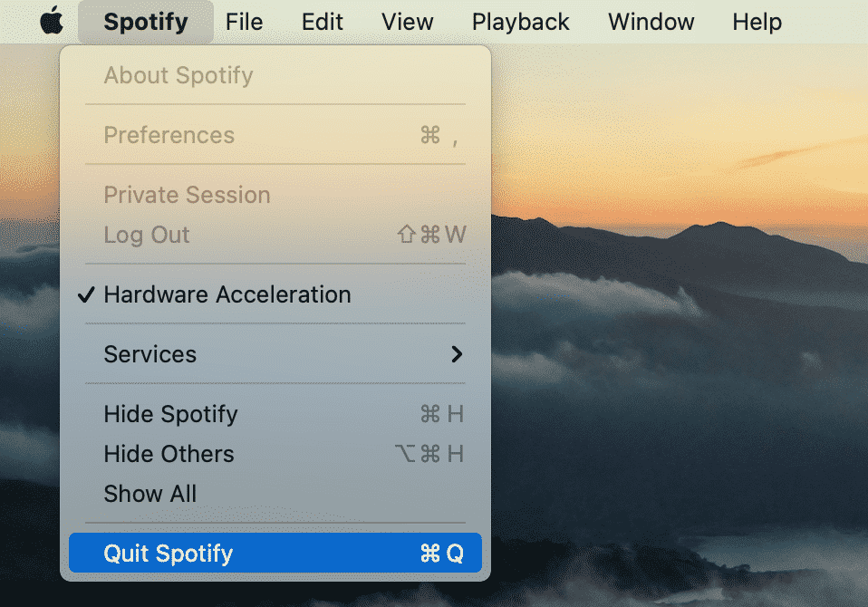 Spotify menu showing the Quit command