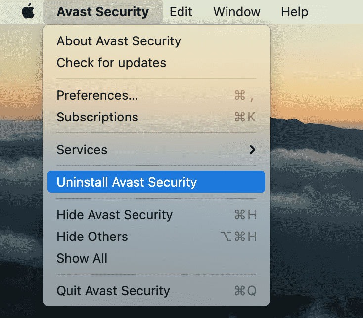 Uninstall Avast Security option in the menu bar