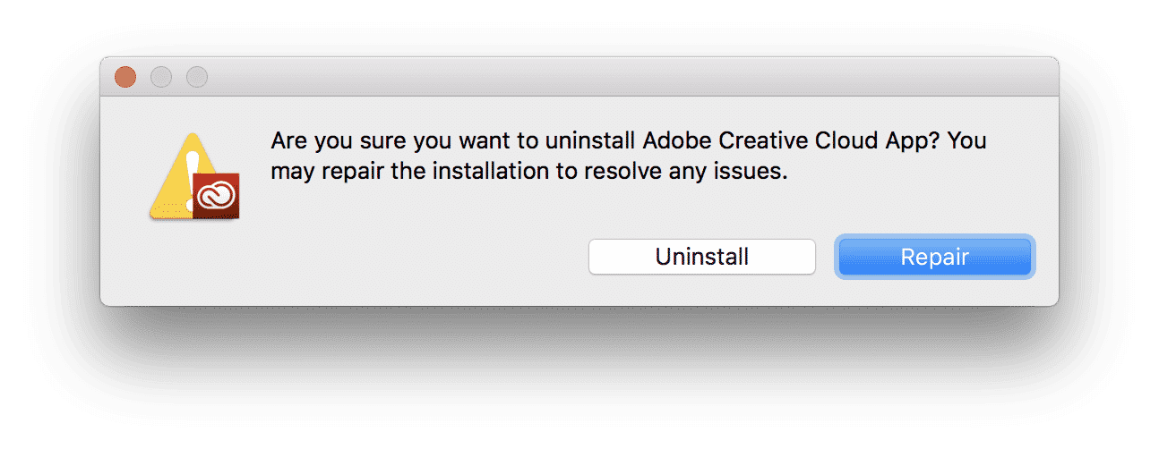 Confirmation window to uninstall Adobe Crative Cloud