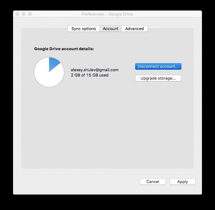 Google Drive preferences