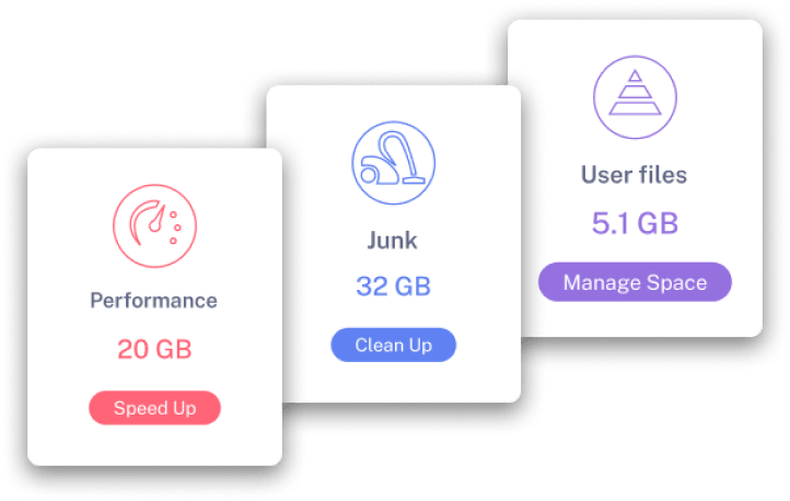performance, junk and user files window