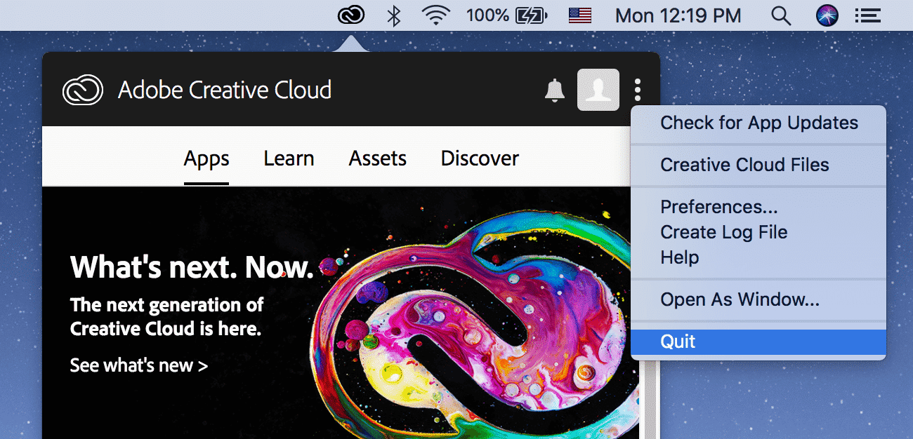 Quit option in Creative Cloud