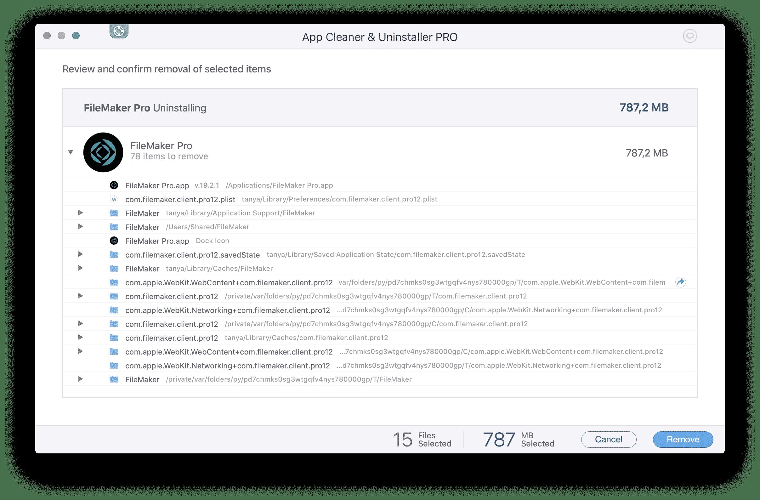 Uninstall FileMaker confirmation window of App Cleaner & Uninstaller