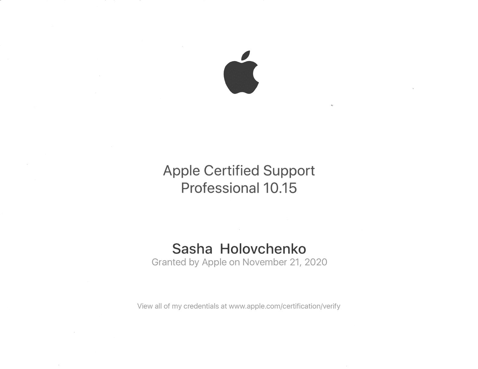 Apple certificate Sasha Holovchenko