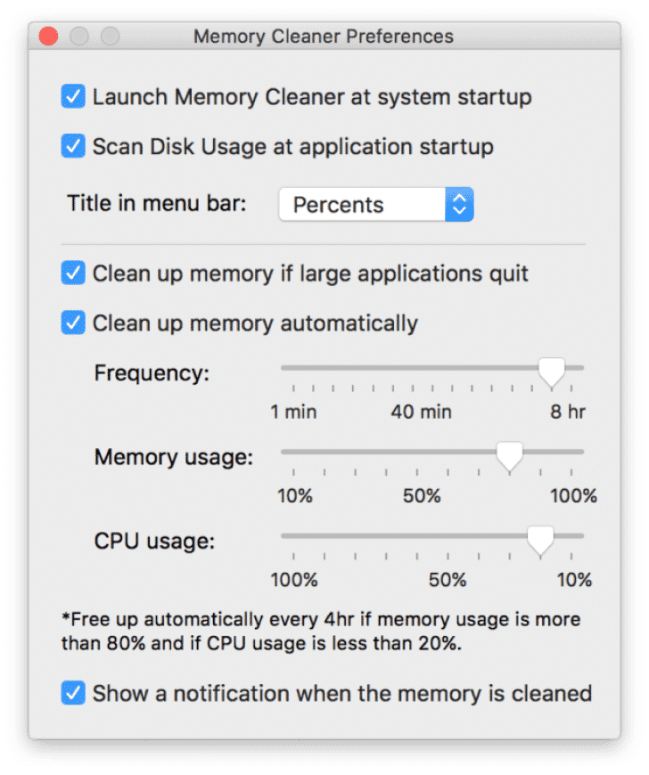 Preferences window of Memory Cleaner