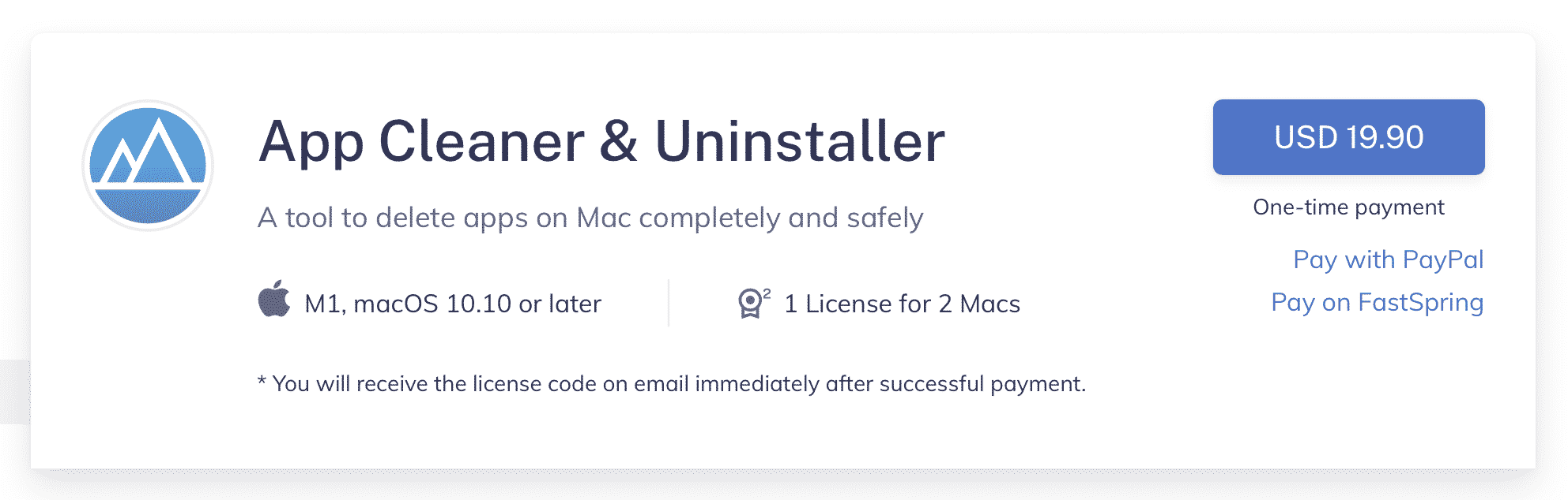 Purchase web page for App Cleaner Uninstaller