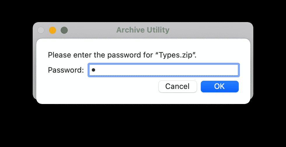 Password entry window to unzip file